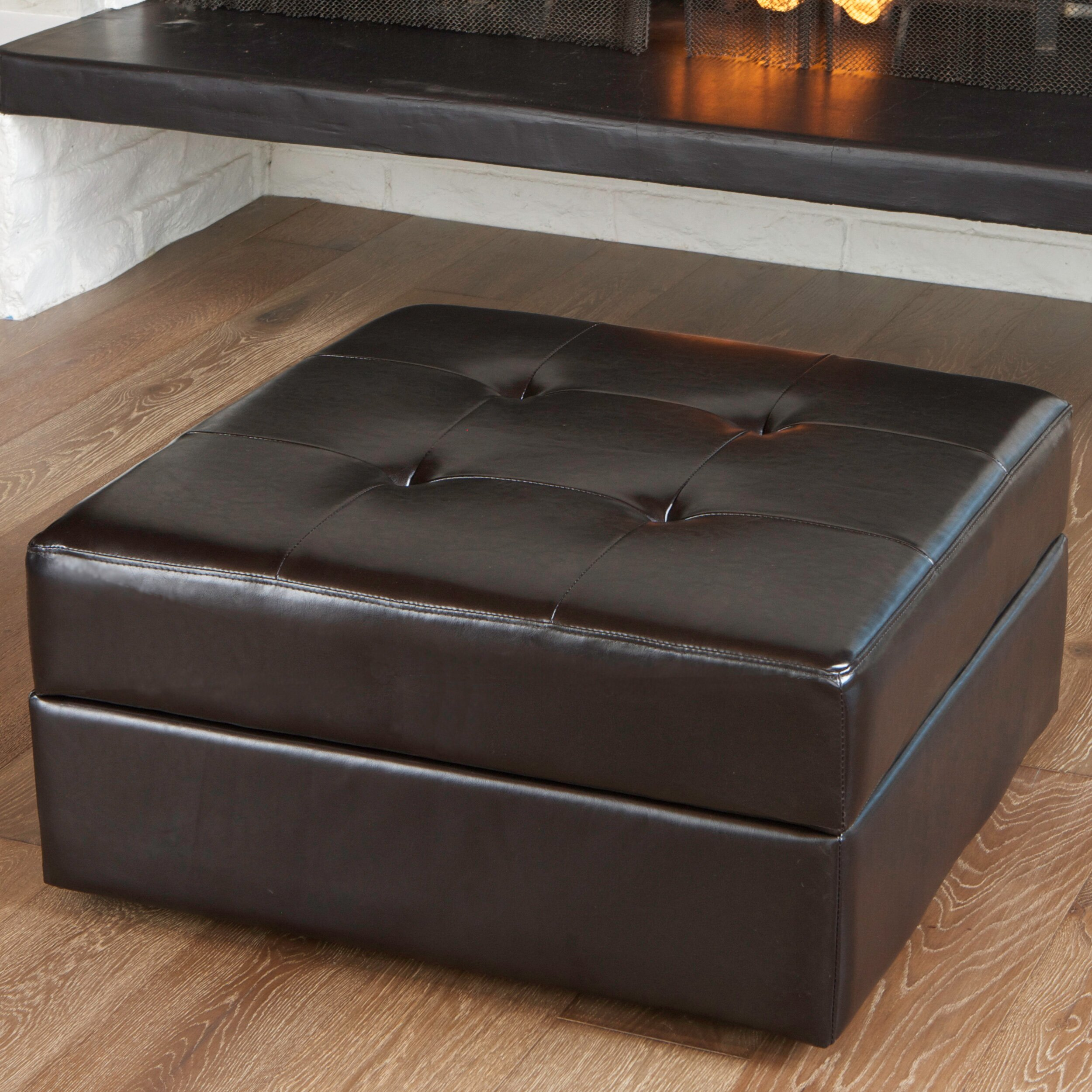 Darby Home Co Fryth Leather Upholstered Storage Ottoman