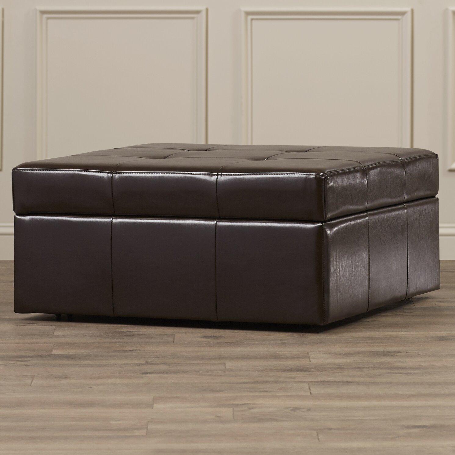 darby home co fryth leather upholstered storage ottoman. Black Bedroom Furniture Sets. Home Design Ideas