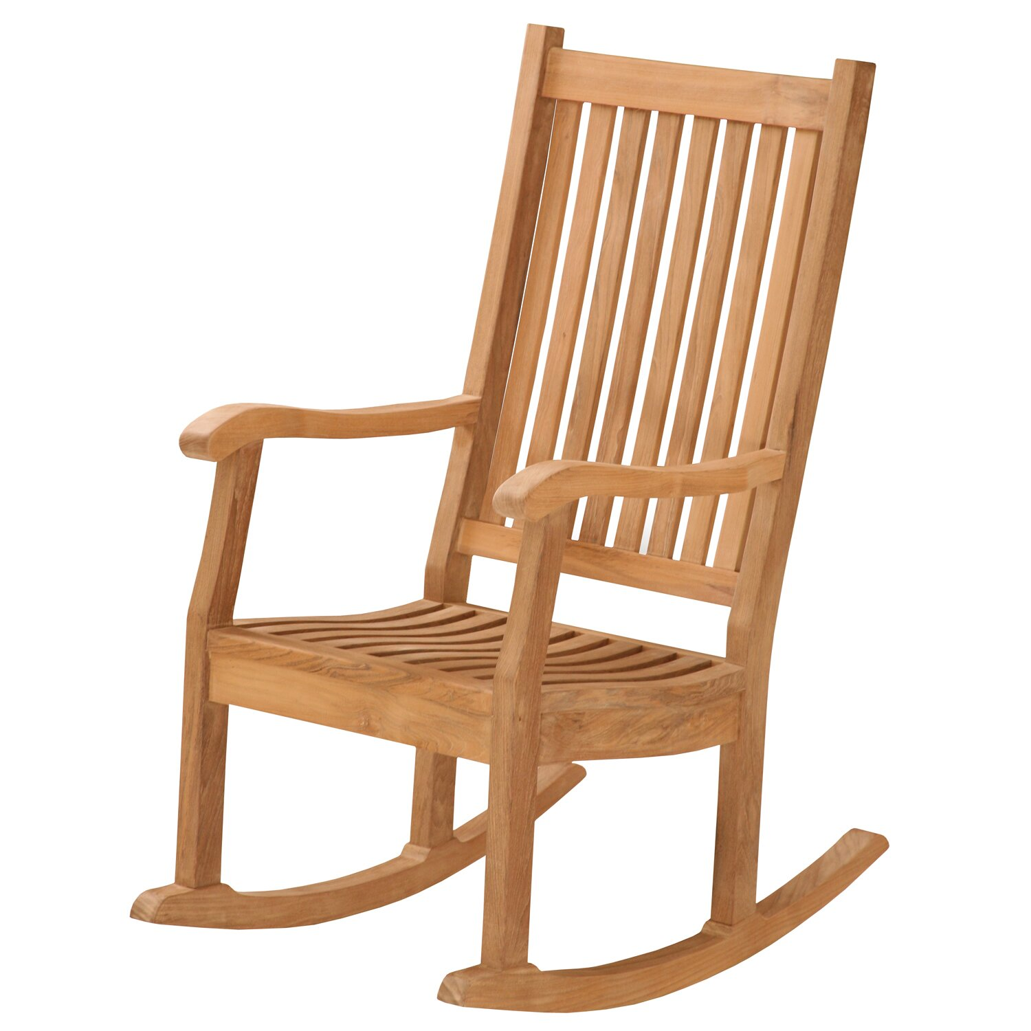 Darby home co lucy teak rocking chair wayfair for Rocking chair