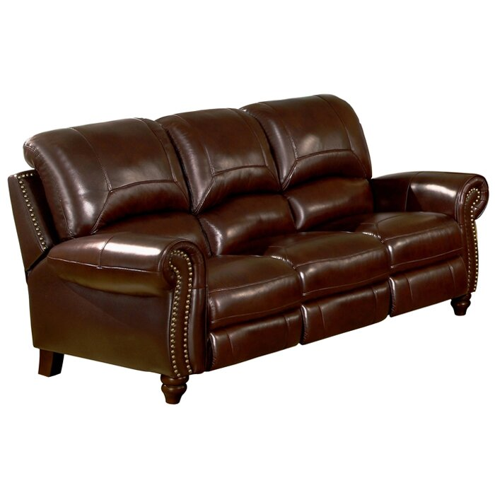 Italian Leather Sofa Charlotte Nc: Darby Home Co Kahle Leather Pusback Reclining Sofa In