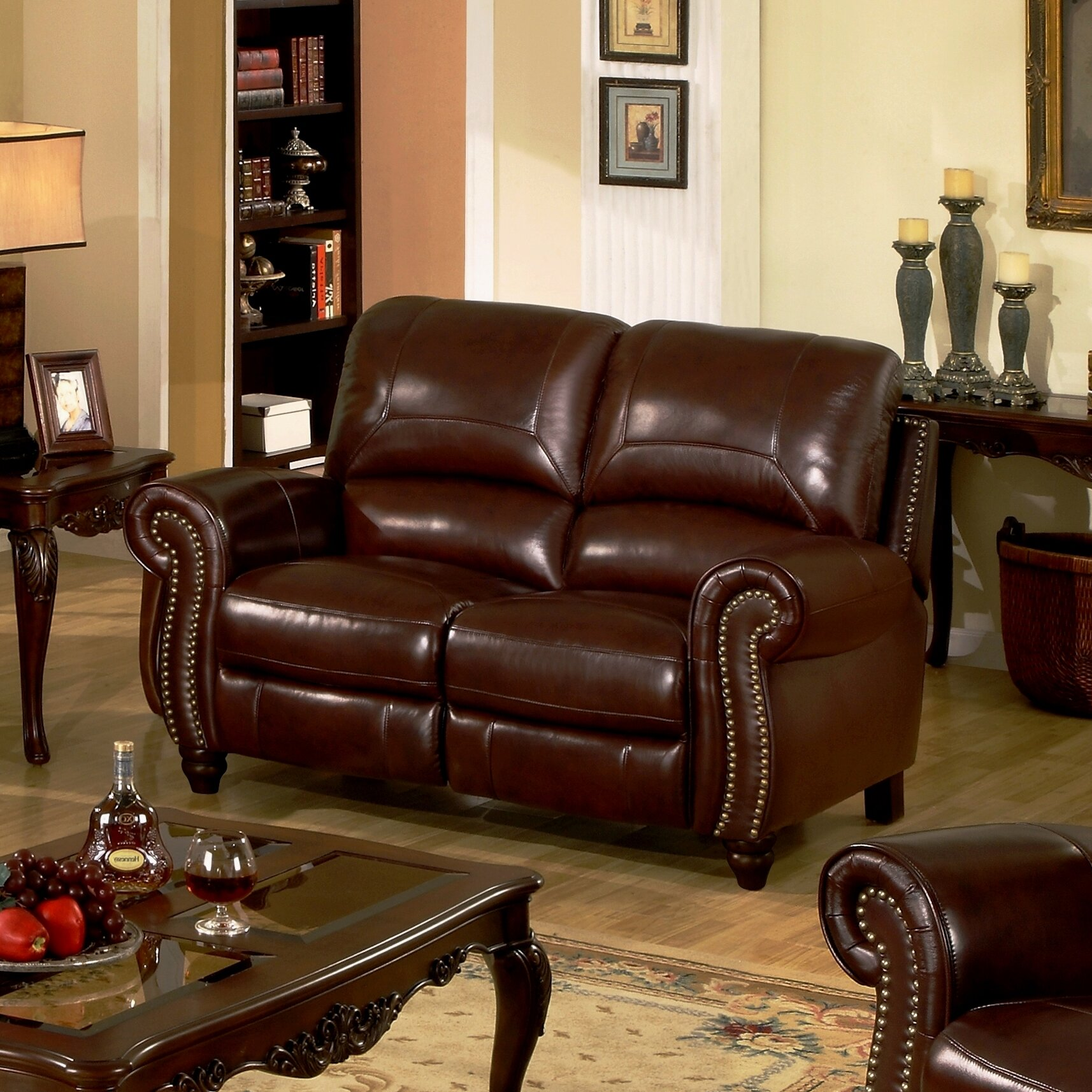 Darby home co kahle leather reclining loveseat reviews for Meuble chez brick