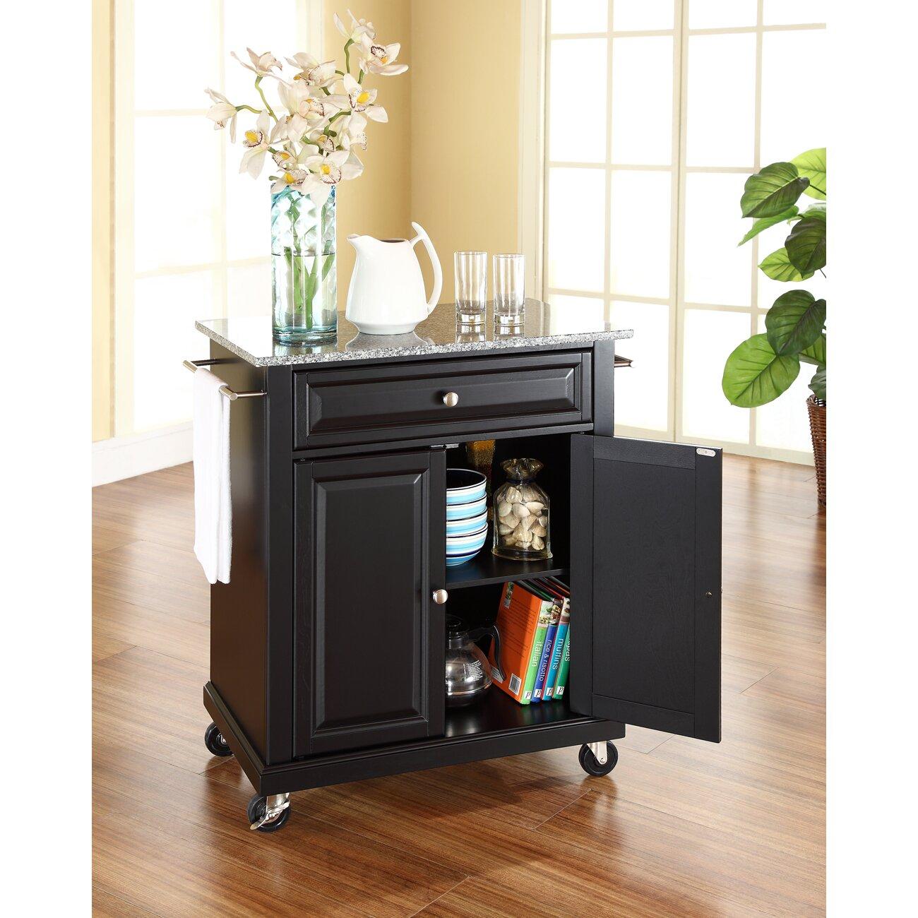 darby home co detweiler solid granite top portable kitchen cart island reviews wayfair. Black Bedroom Furniture Sets. Home Design Ideas