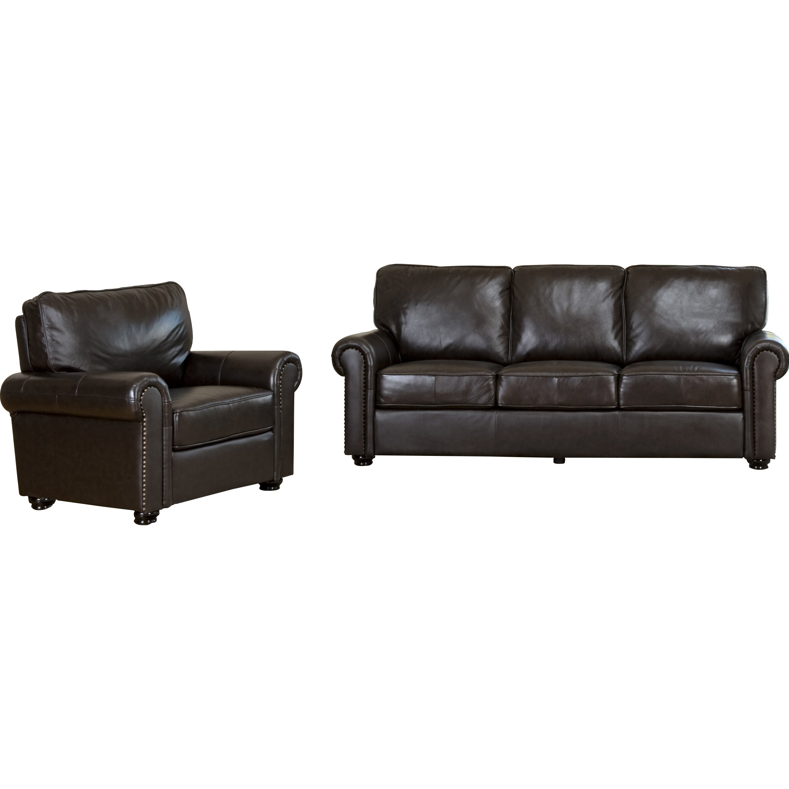Darby Home Co Coggins Leather Sofa and Chair Set & Reviews   Wayfair