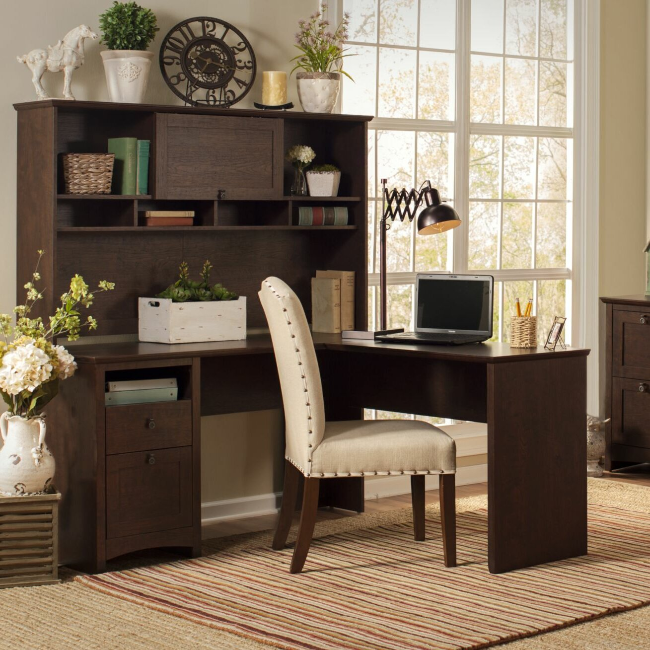 darby home co egger l executive desk with hutch and lateral file reviews wayfair. Black Bedroom Furniture Sets. Home Design Ideas