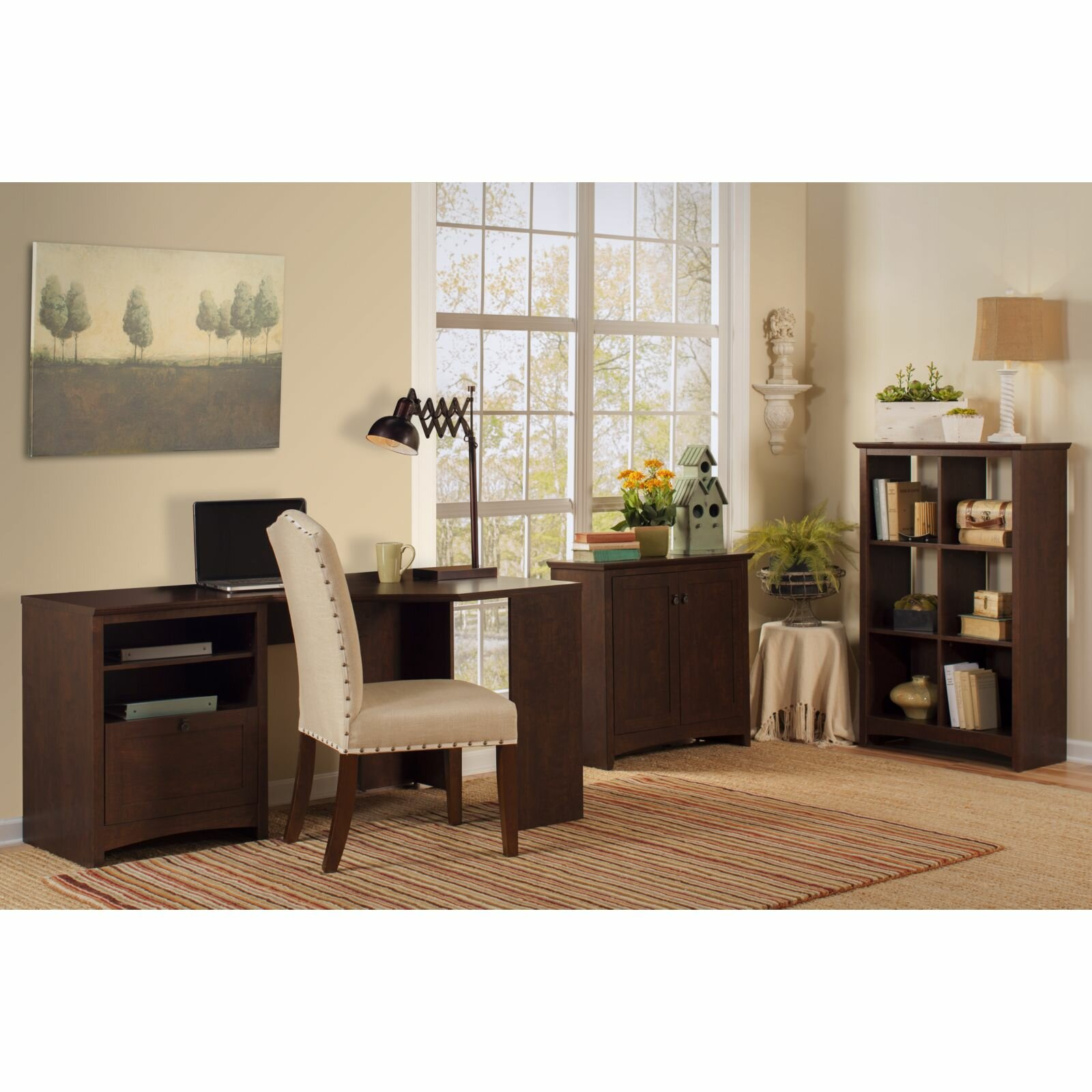 darby home co egger corner executive desk with 6 cube bookcase and low storage cabinet reviews. Black Bedroom Furniture Sets. Home Design Ideas