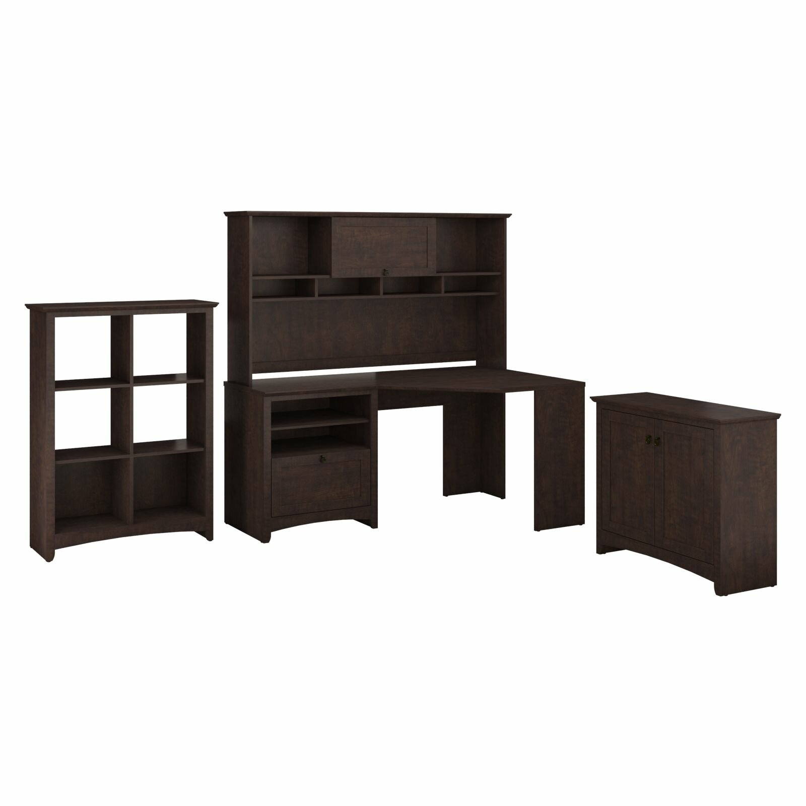 Darby home co egger corner executive desk with hutch 6 cube bookcase and low storage cabinet - Staples corner storage ...