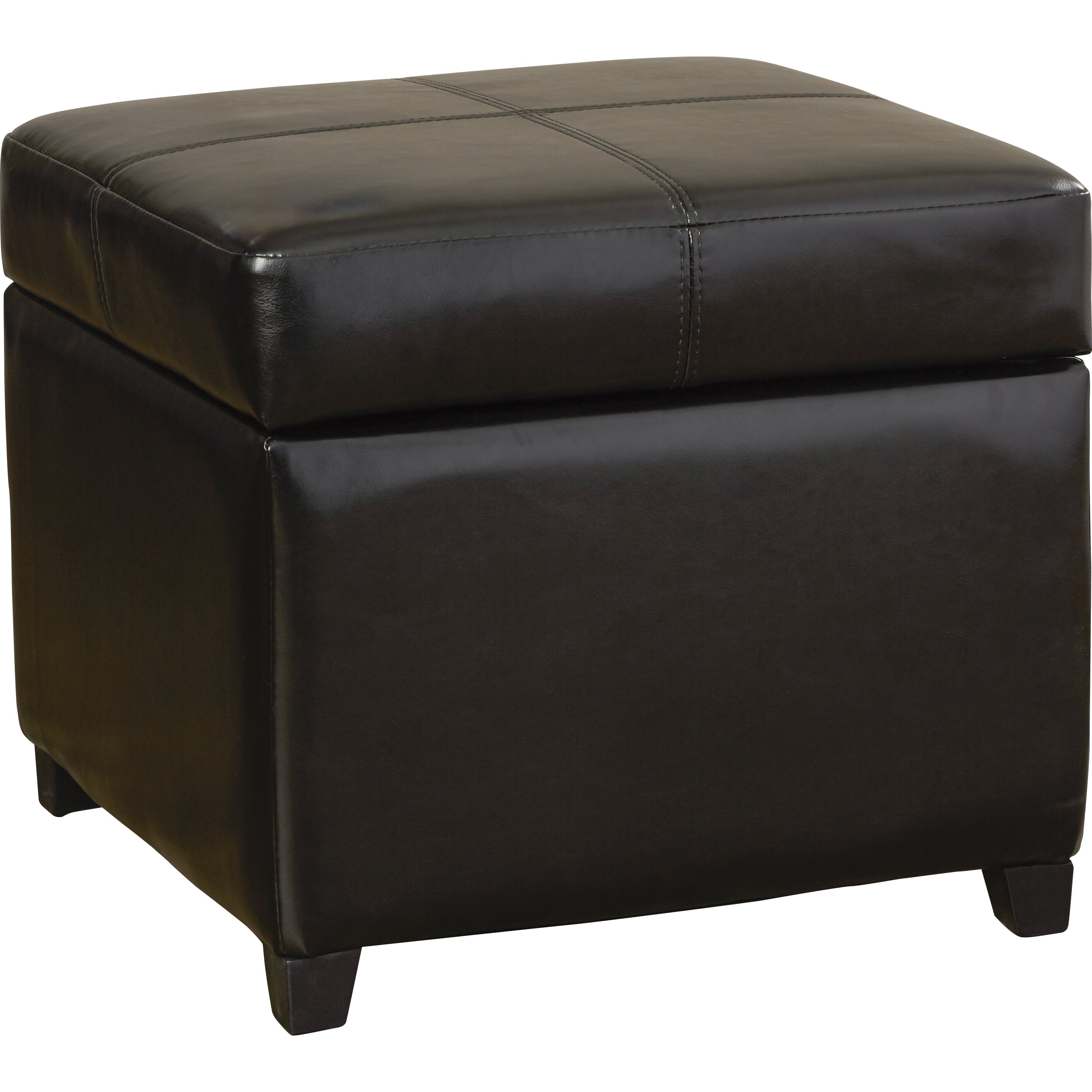 Darby Home Co Leitch Leather Storage Cube Ottoman