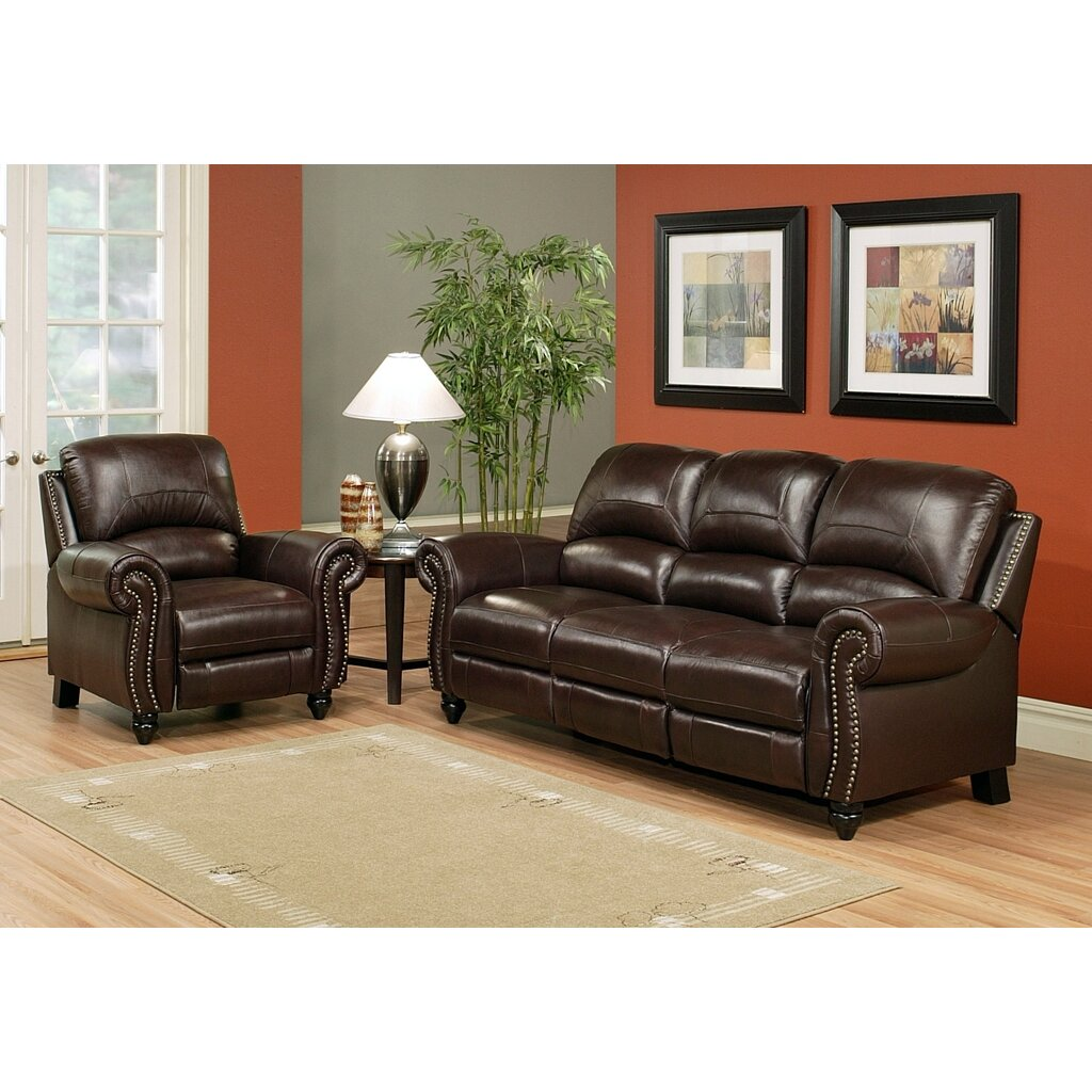 Darby Home Co Kahle Leather Reclining Sofa And Chair Set