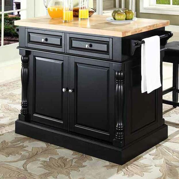 crosley butcher block top kitchen island darby home co lewistown 3 kitchen island set with 26582