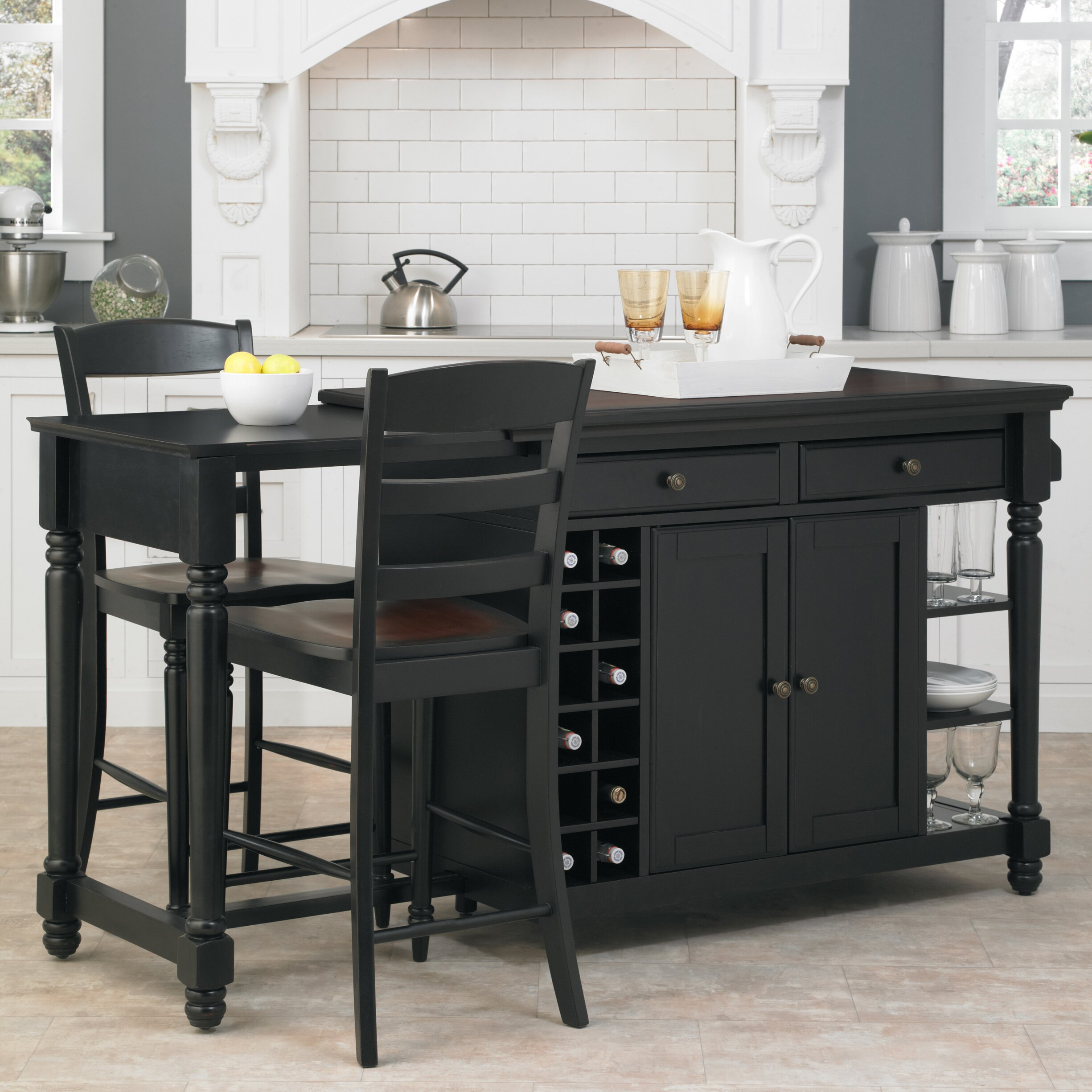darby home co cleanhill 3 kitchen island set