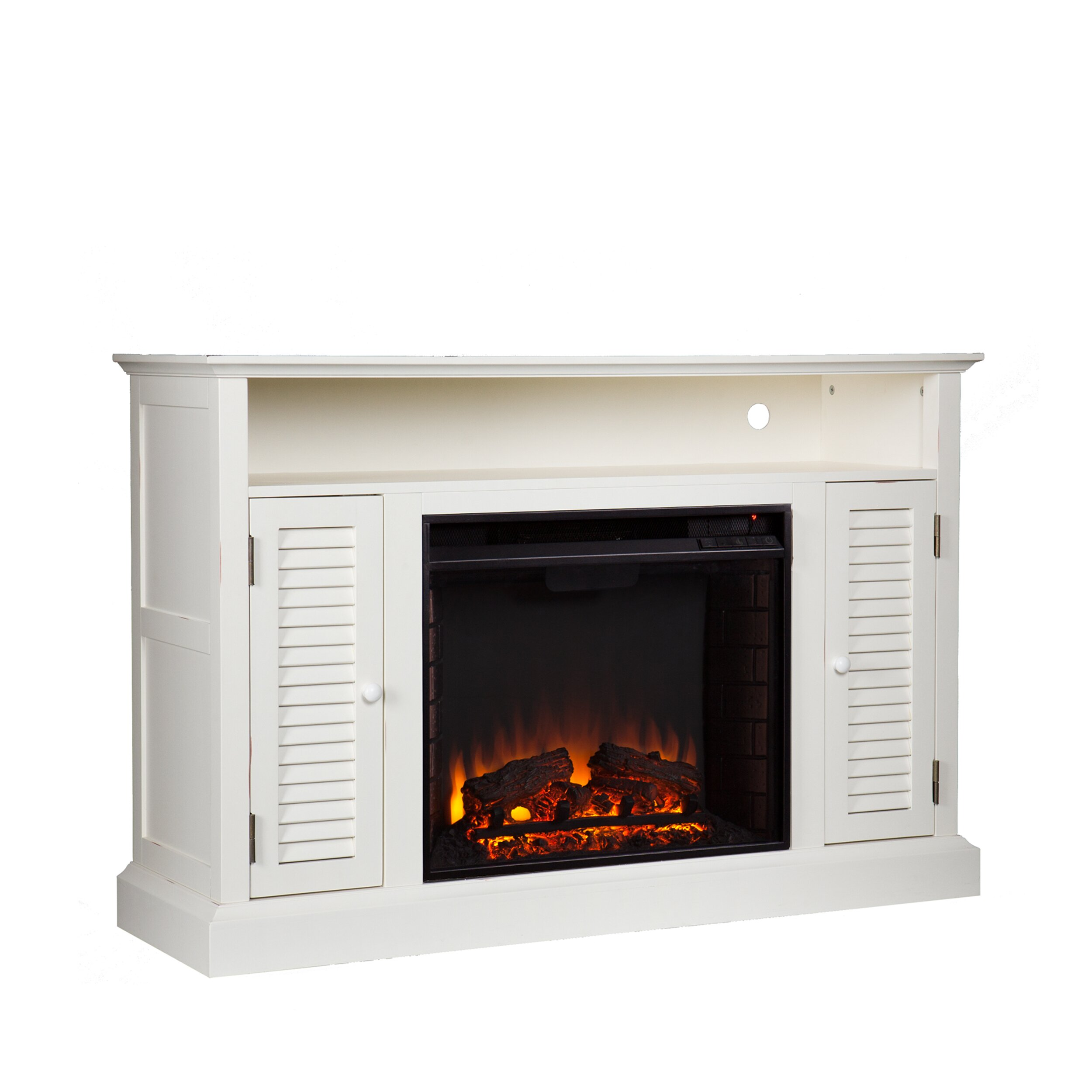 entertainment stand with electric fireplace real flame hawthorne
