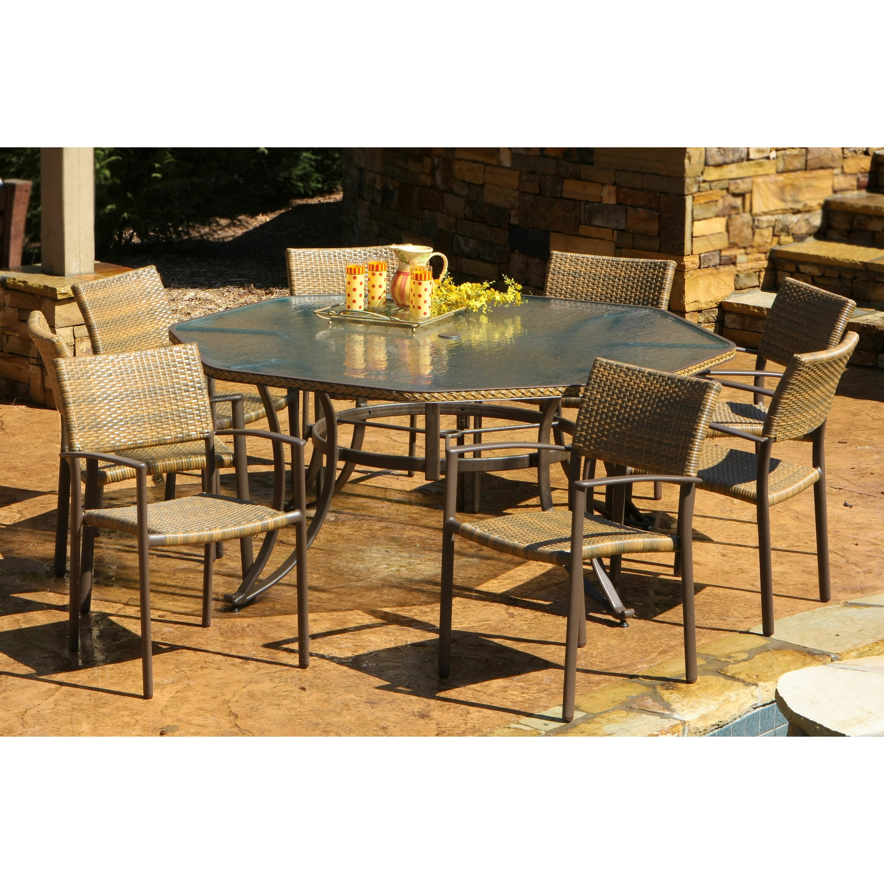 Darby home co claiborne 9 piece dining set reviews wayfair for Outdoor furniture 9 piece