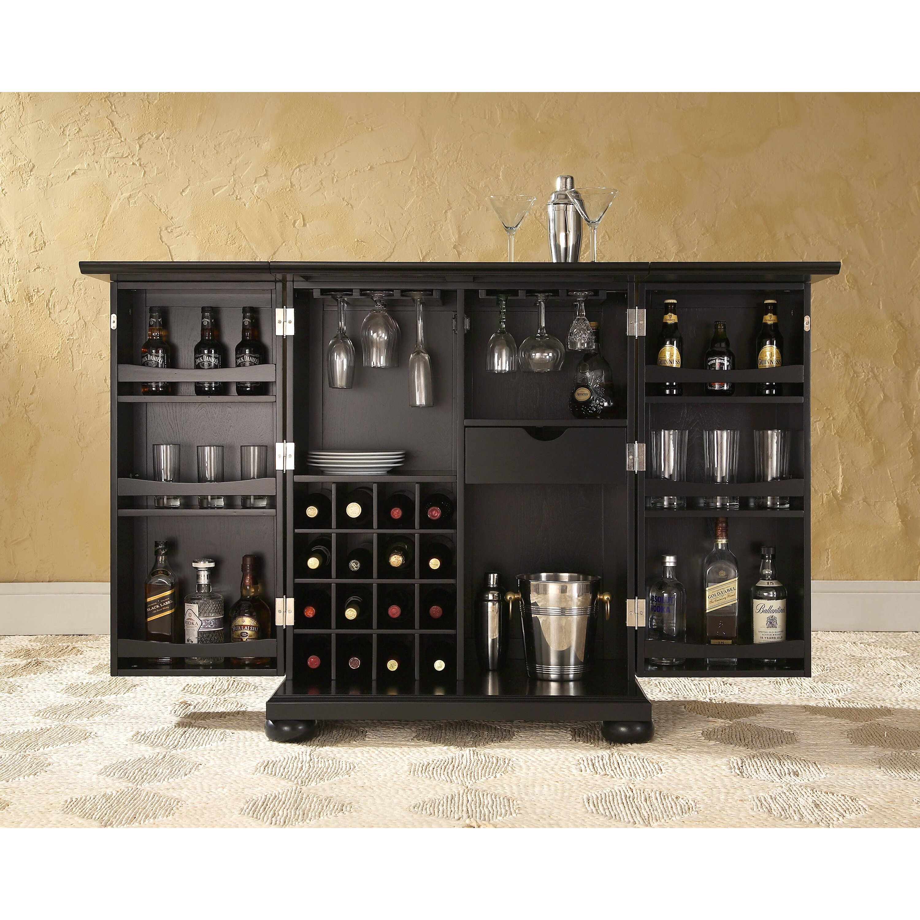 Darby Home Co Pottstown Expandable Bar Cabinet with Wine Storage & Reviews | Wayfair