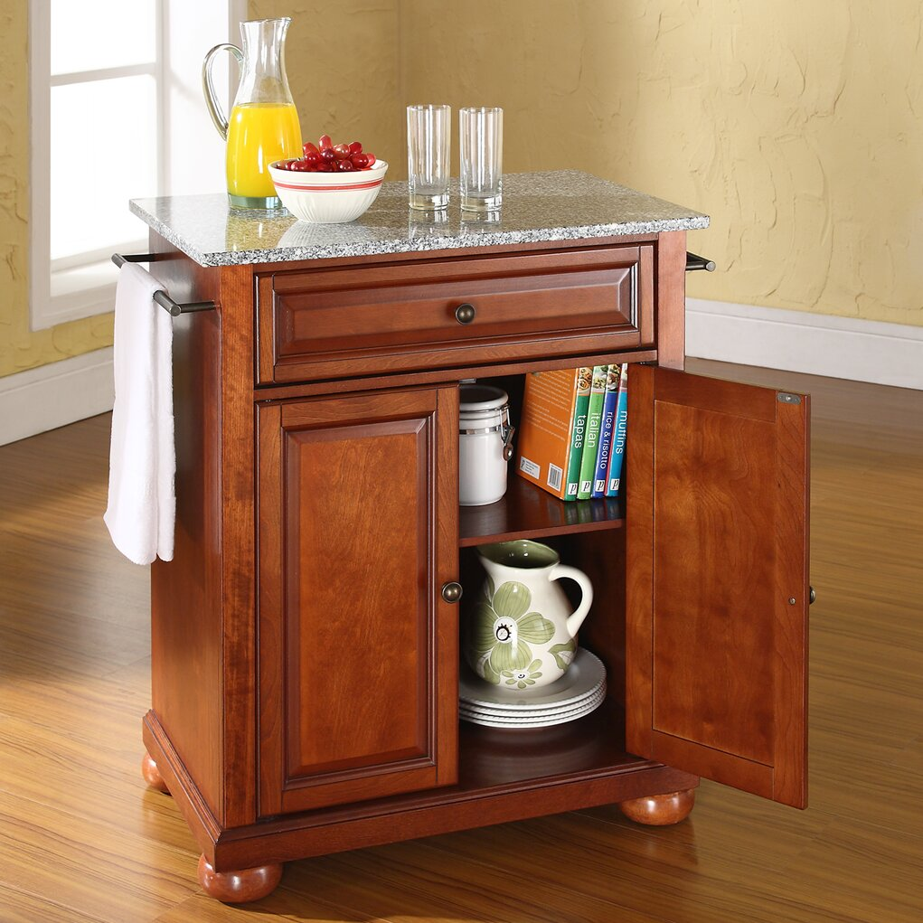 darby home co pottstown kitchen cart with granite top reviews wayfair. Black Bedroom Furniture Sets. Home Design Ideas