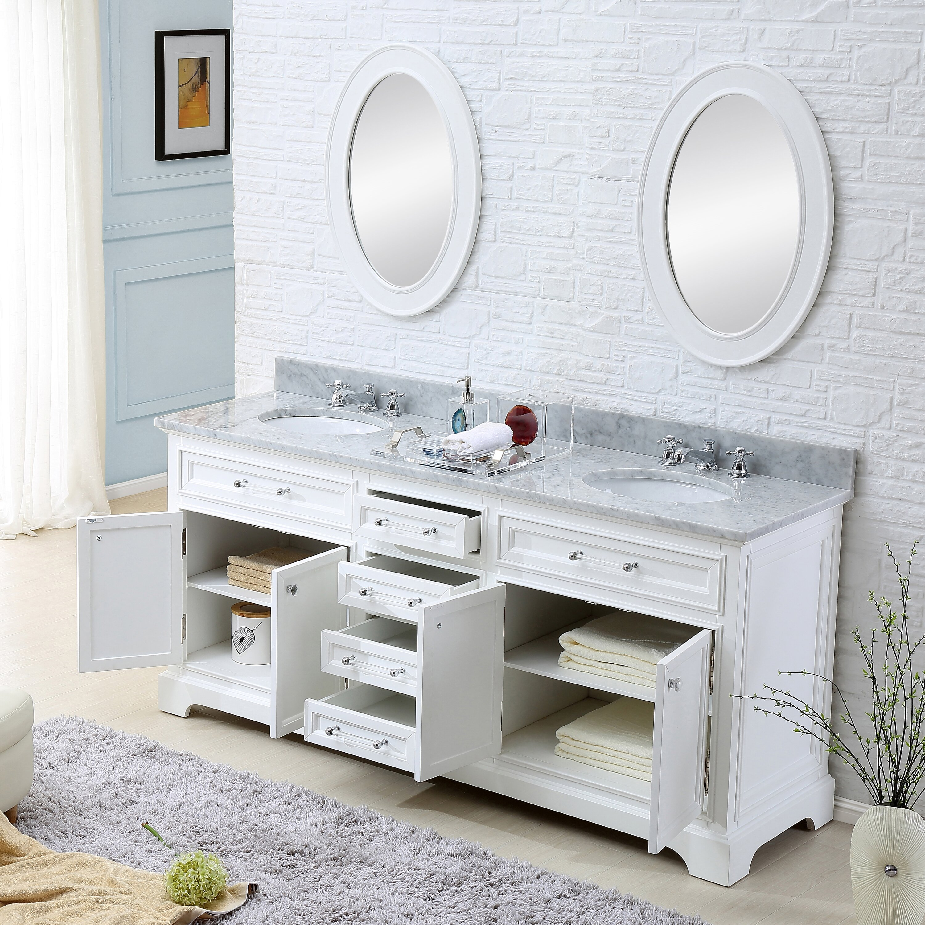 Darby Home Co Colchester 72 Double Sink Bathroom Vanity Set White Reviews Wayfair