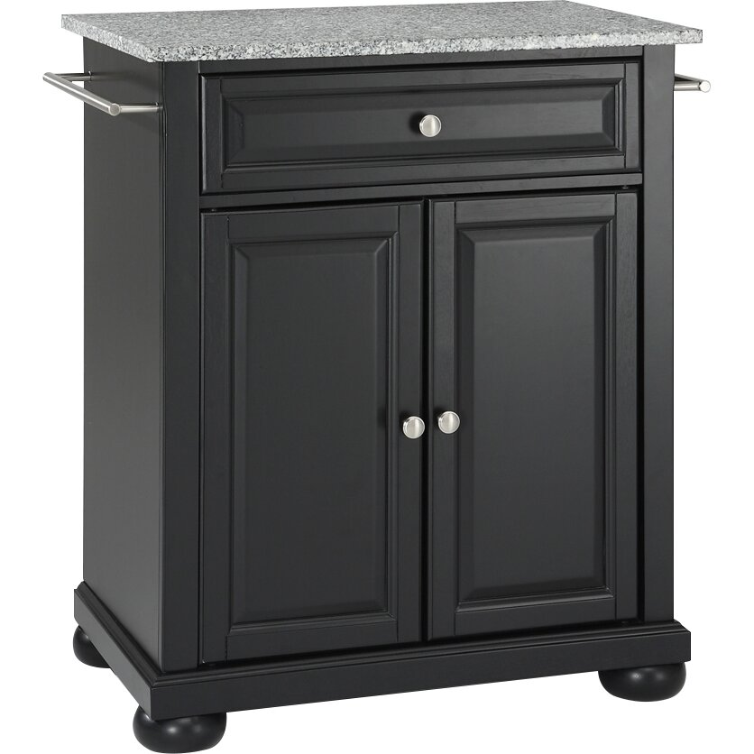 darby home co pottstown kitchen cart with granite top reviews. Black Bedroom Furniture Sets. Home Design Ideas