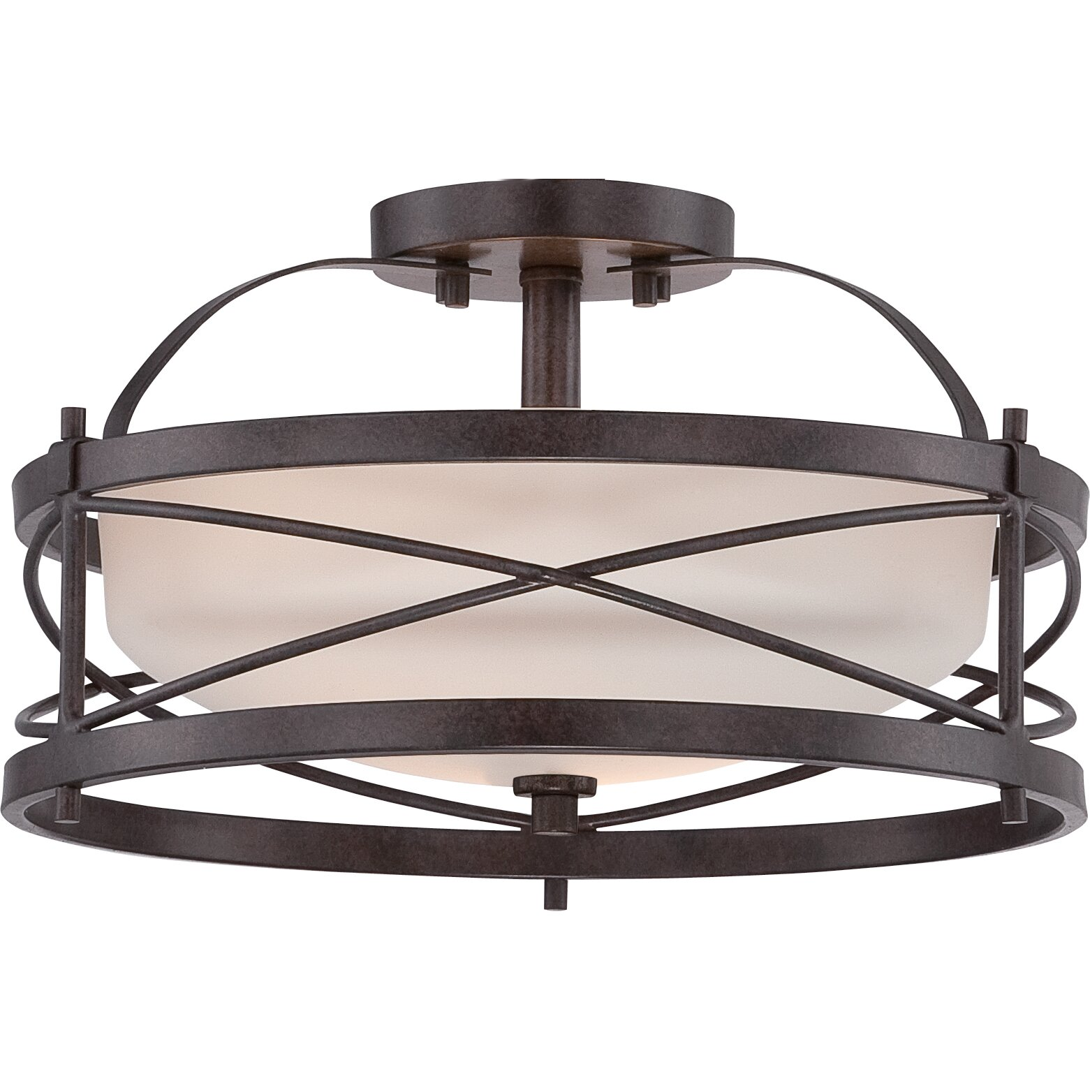 Darby home co farrier 2 light semi flush reviews wayfair for Flush mount bedroom lighting