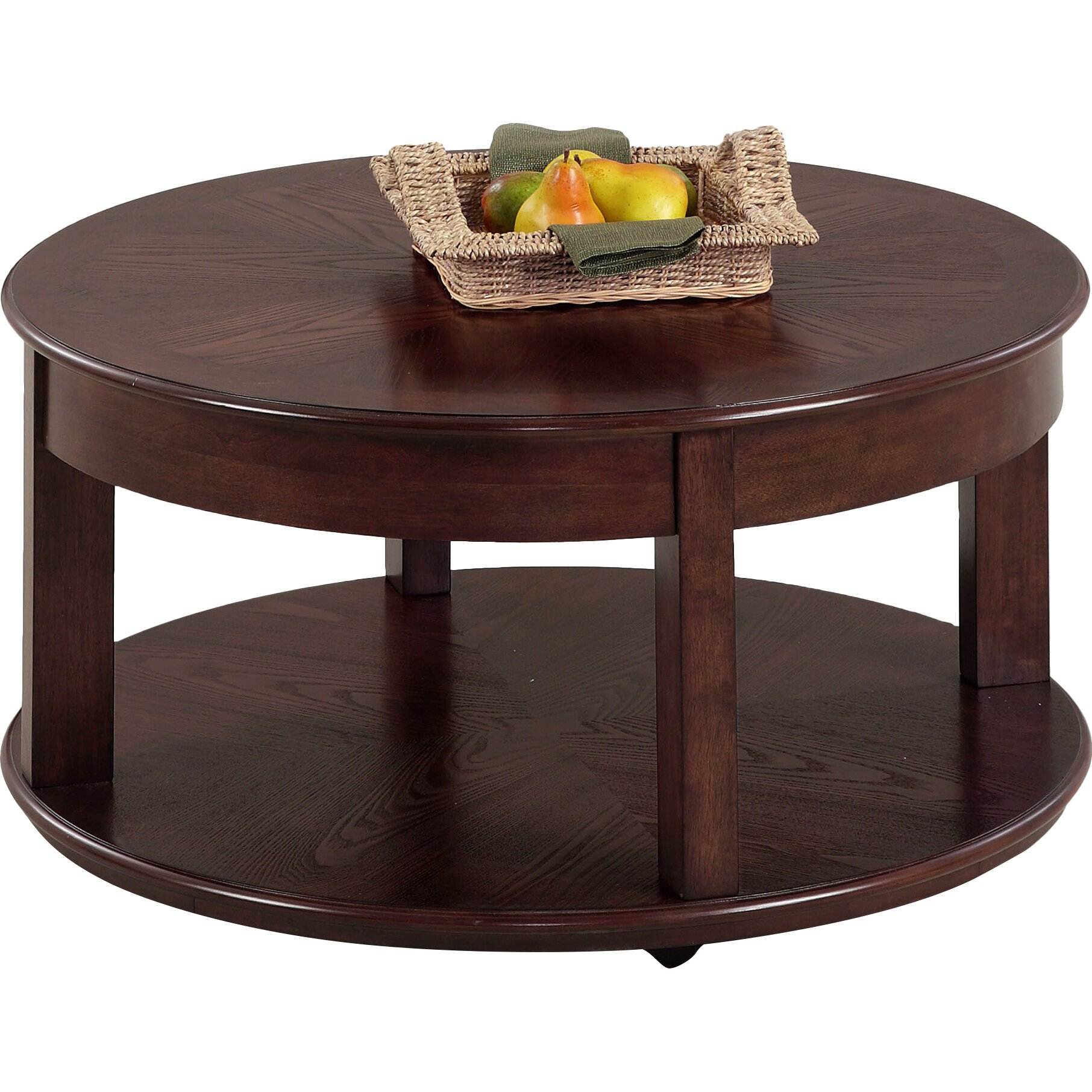 Darby home co wilhoite castered round coffee table for Round coffee table with chairs