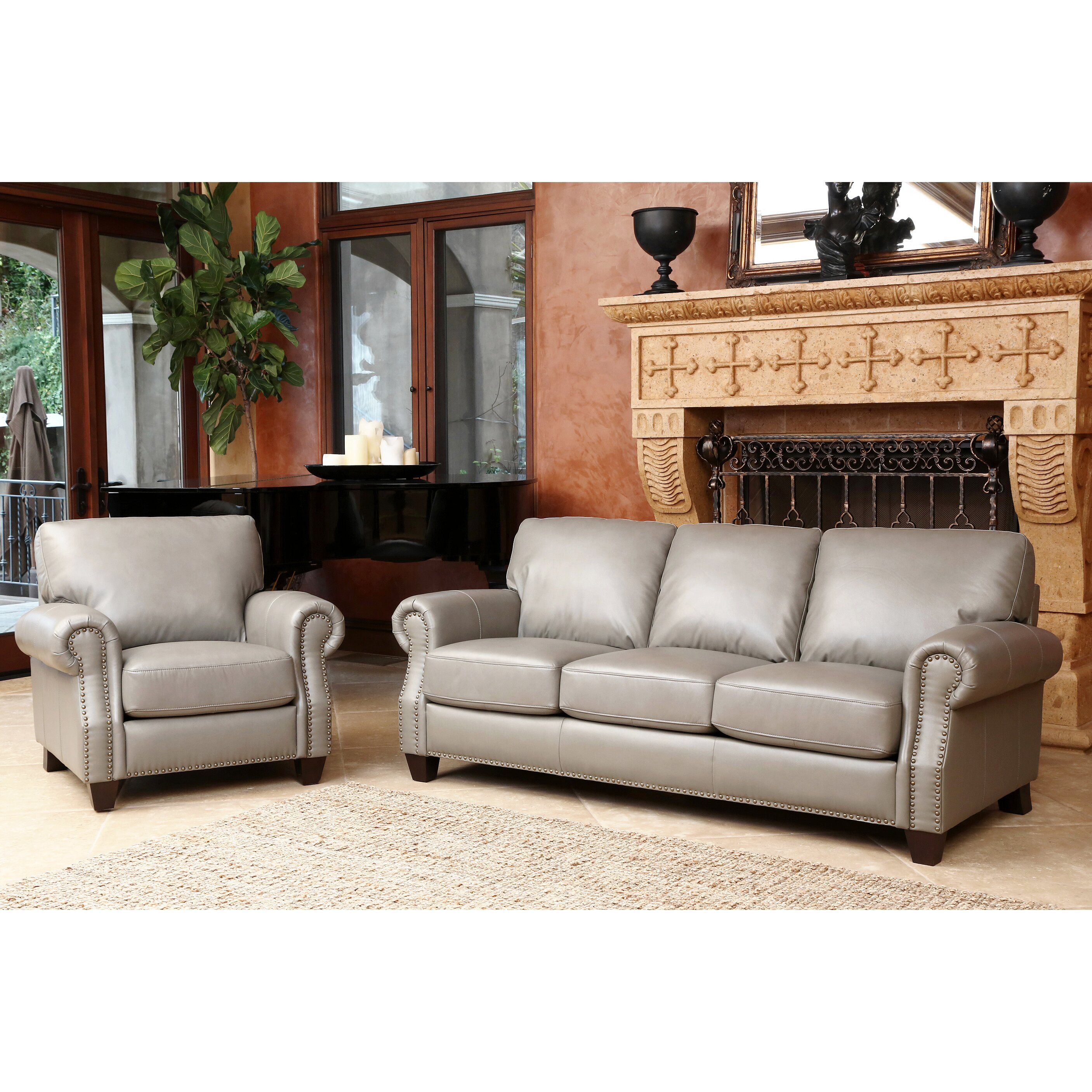 Darby home co cairnbrook 3 piece leather living room set for Living room 3 piece sets