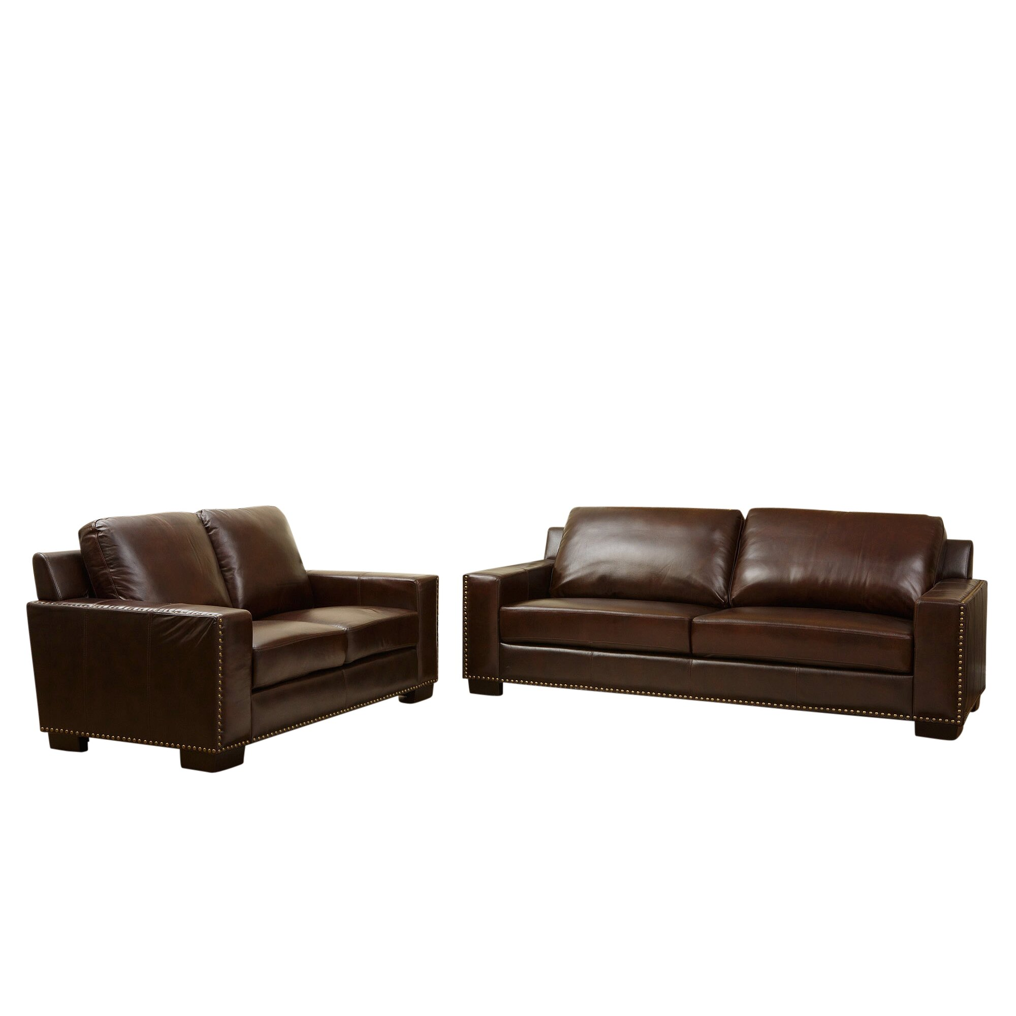 Darby home co william leather sofa and loveseat set for Leather sofa and loveseat set
