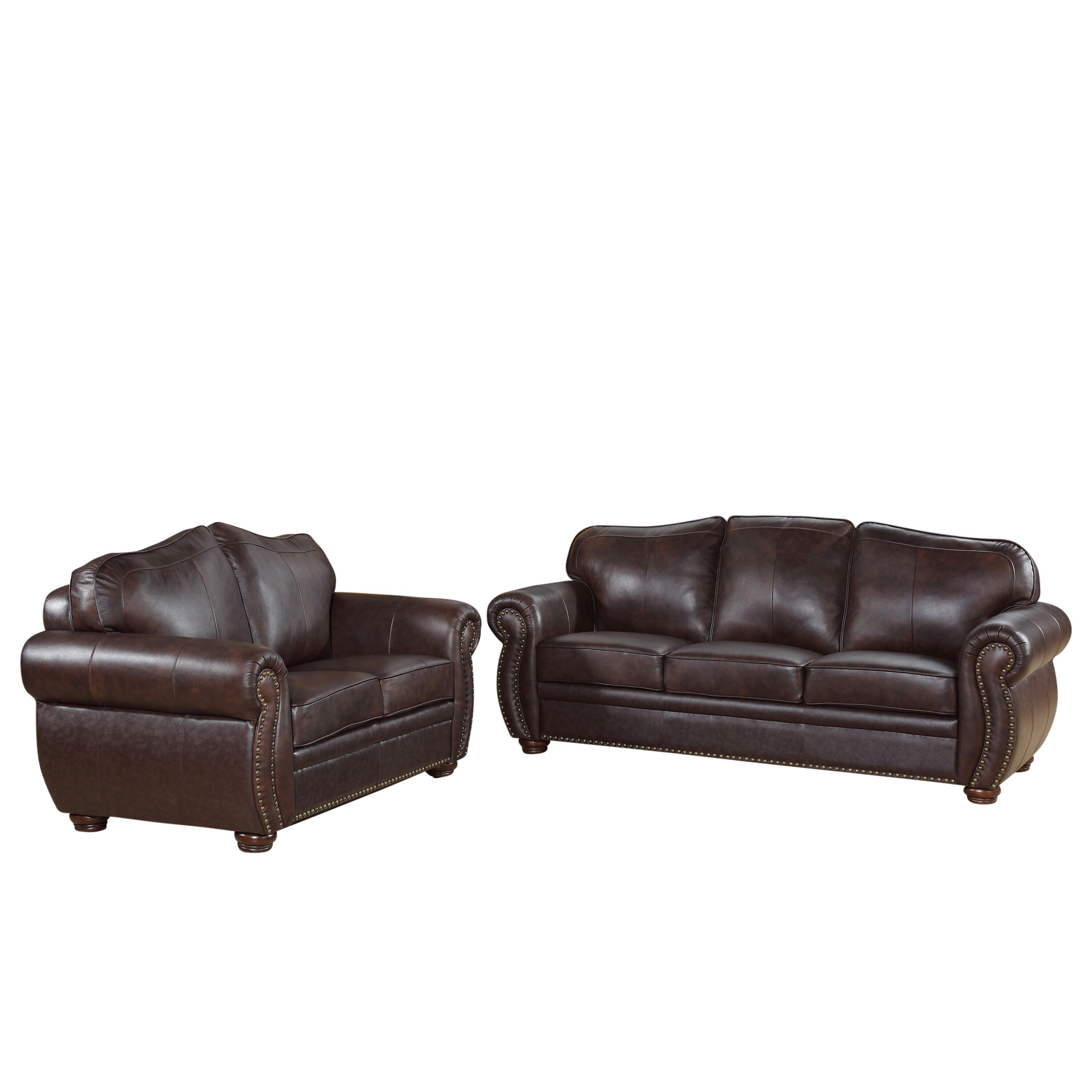 Darby home co morgenstern leather sofa and loveseat set for Leather sofa and loveseat set