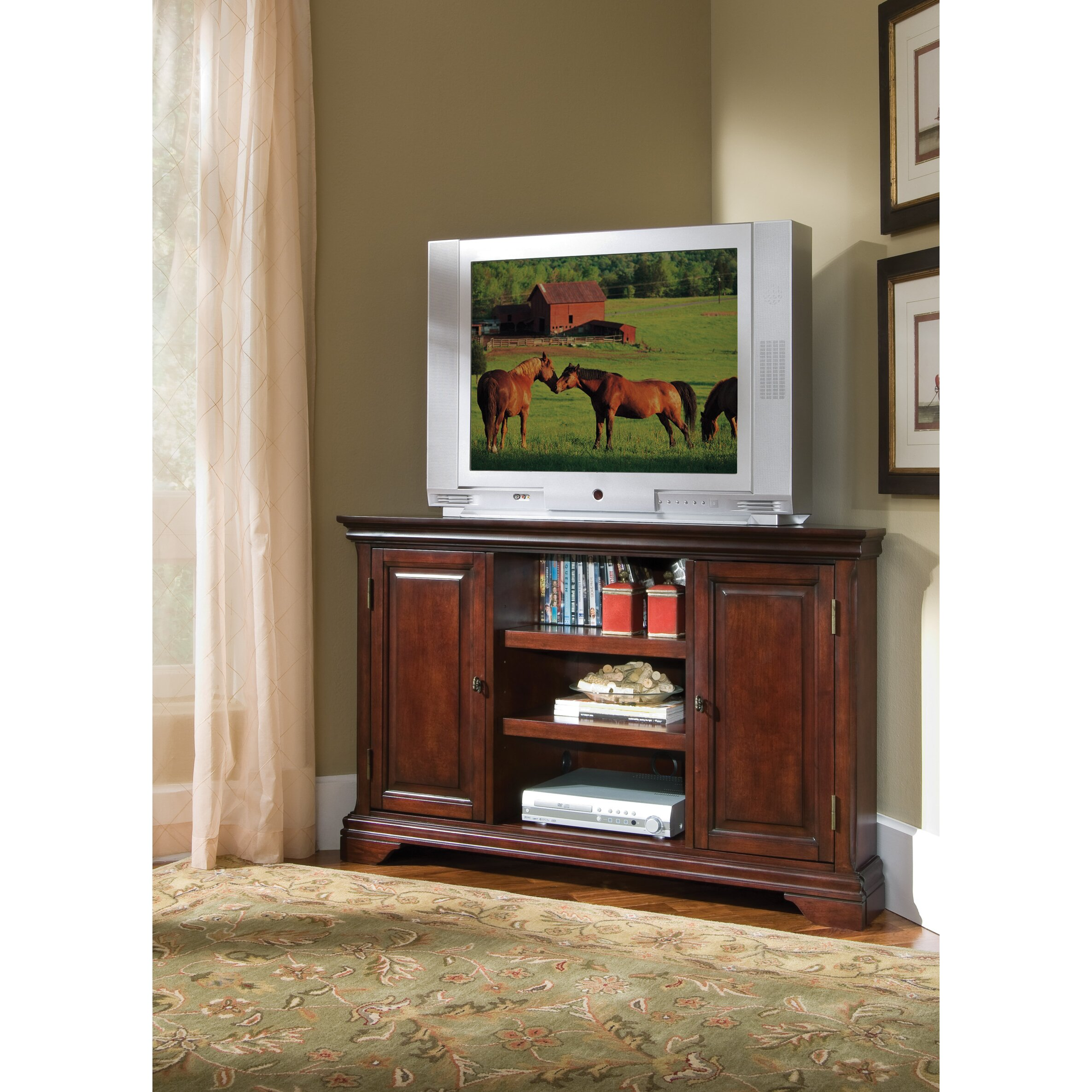 darby home co linthicum corner tv stand reviews wayfair. Black Bedroom Furniture Sets. Home Design Ideas