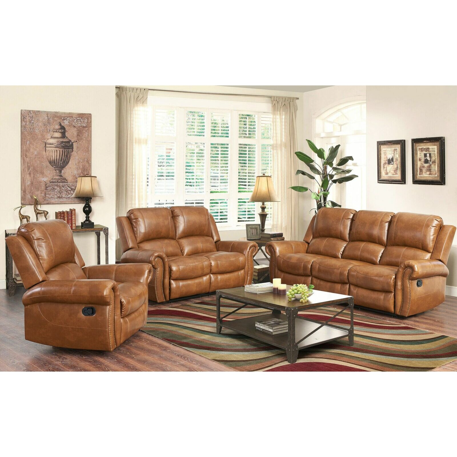 Darby home co bitter root 3 piece leather living room set for 3 piece living room set