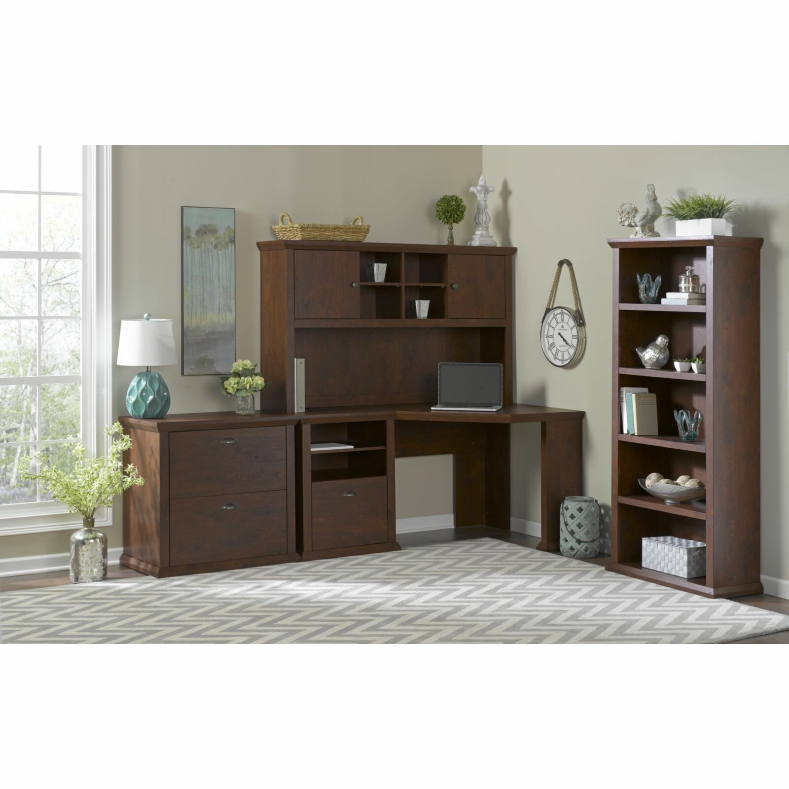 darby home co watertown corner desk with hutch lateral file and bookcase reviews wayfair. Black Bedroom Furniture Sets. Home Design Ideas