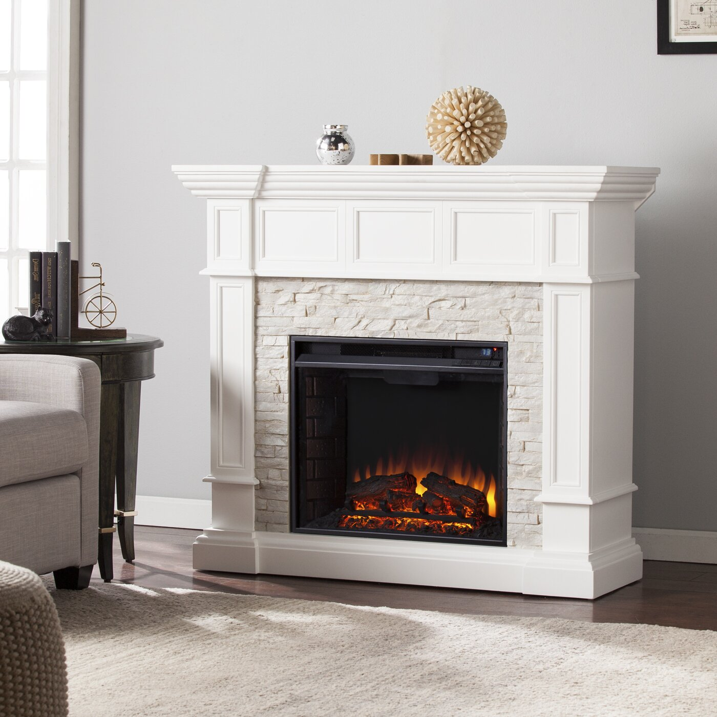 Corner Fireplace: Darby Home Co Prussia Corner Convertible Electric
