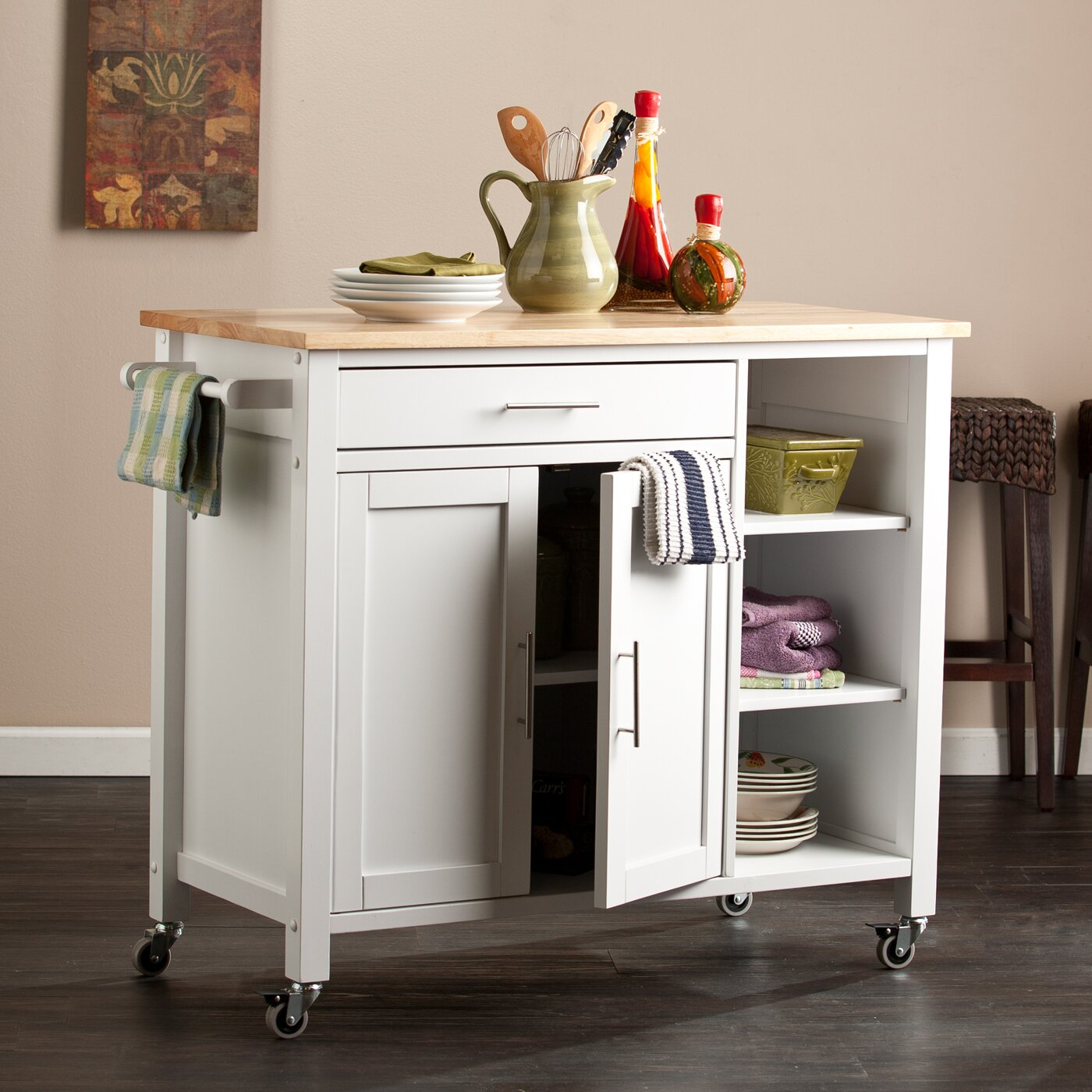 Alcott Hill Hammond Kitchen Cart With Butcher Block Top
