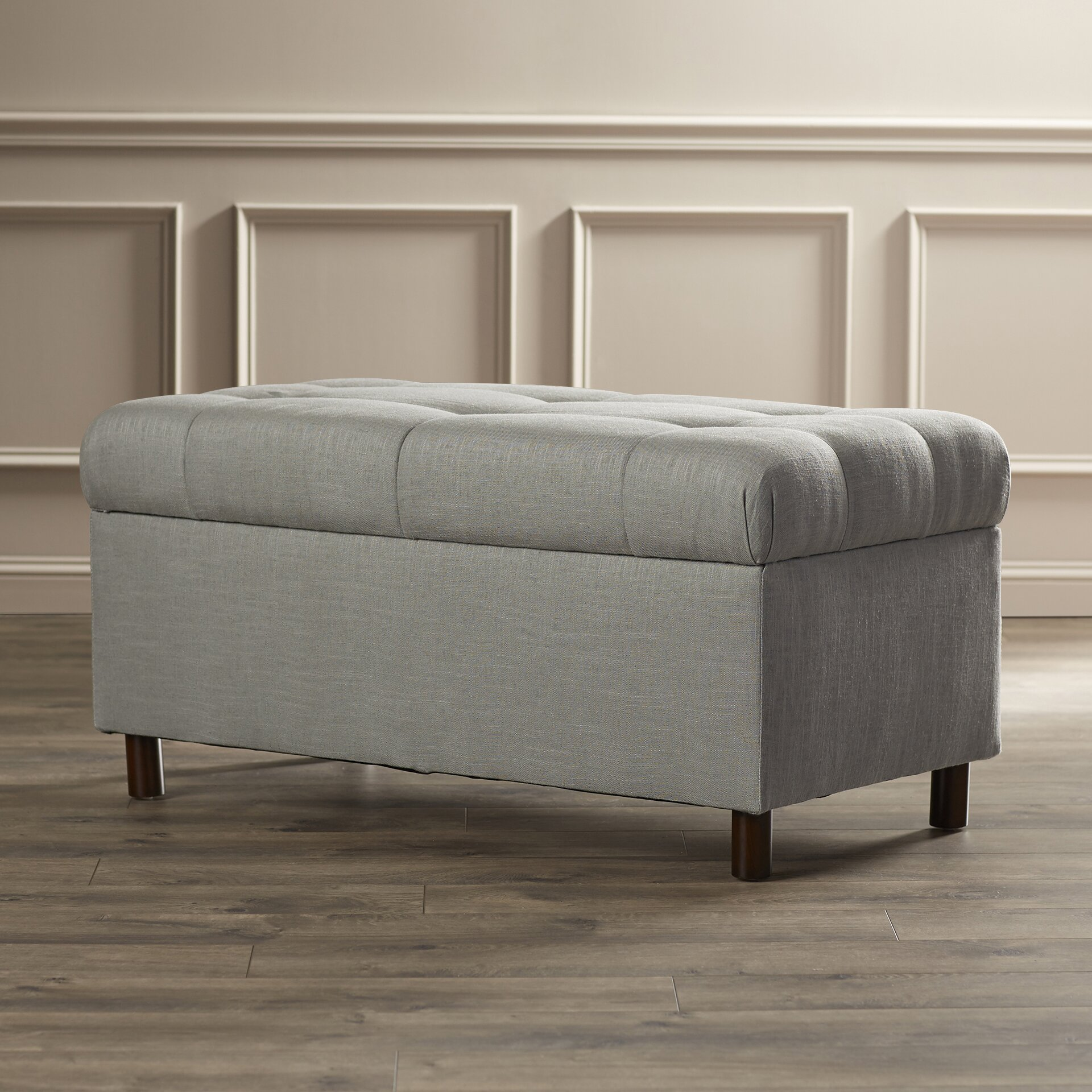 Alcott hill henrietta tufted linen storage bedroom bench reviews wayfair Bedroom storage bench