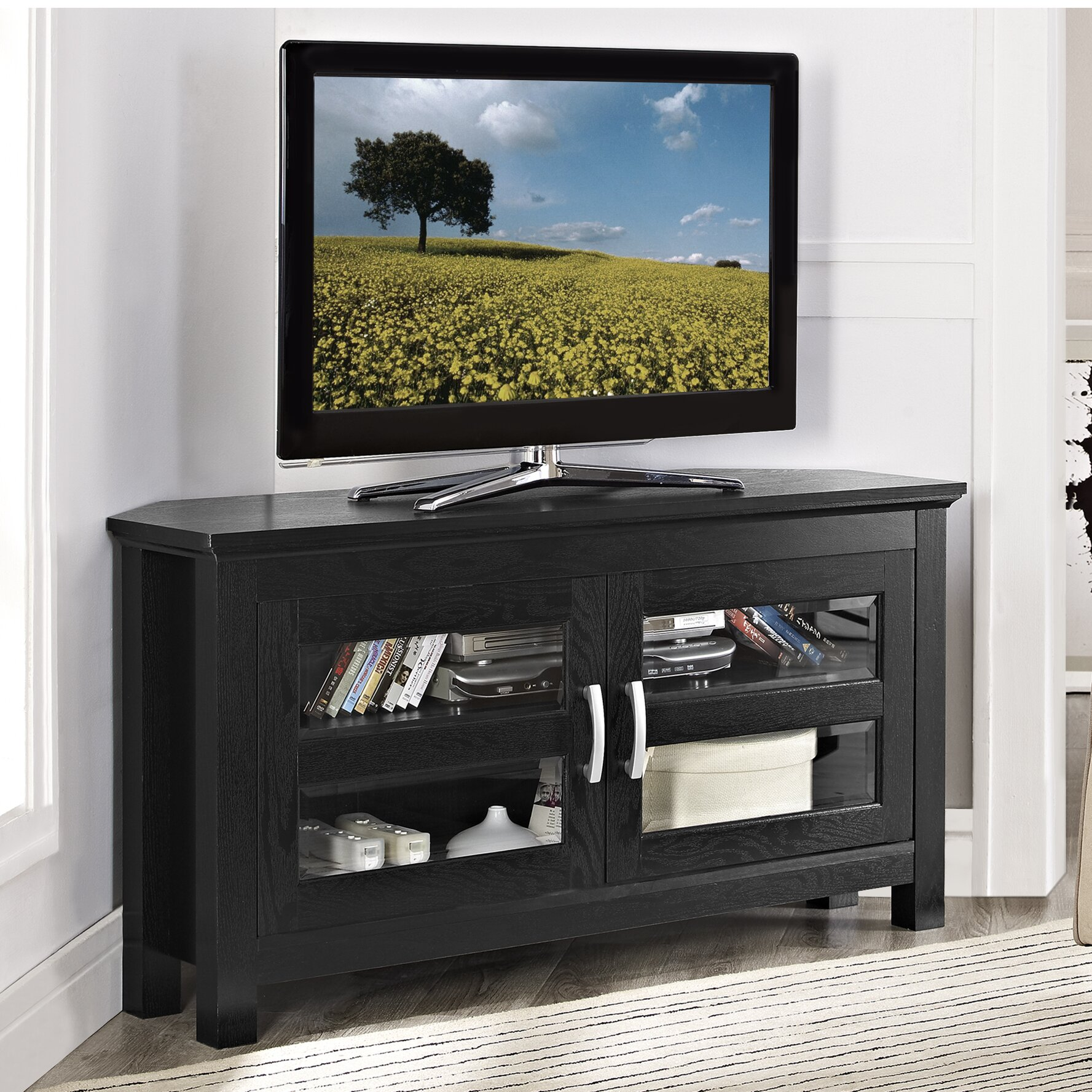 alcott hill sulyard wood corner tv stand reviews wayfair. Black Bedroom Furniture Sets. Home Design Ideas