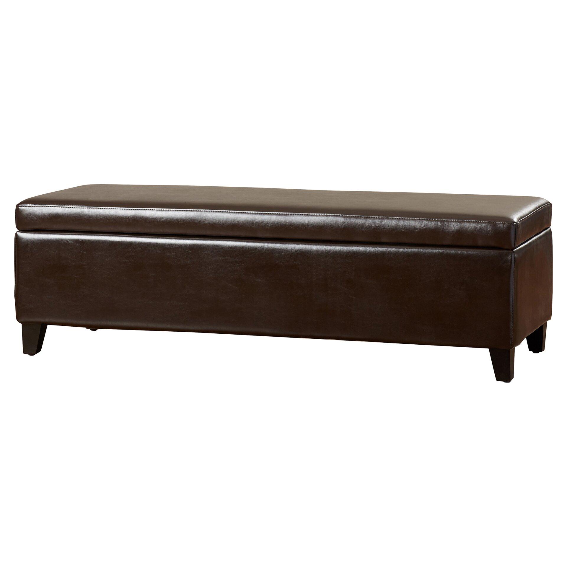 alcott hill geffray leather storage ottoman reviews. Black Bedroom Furniture Sets. Home Design Ideas