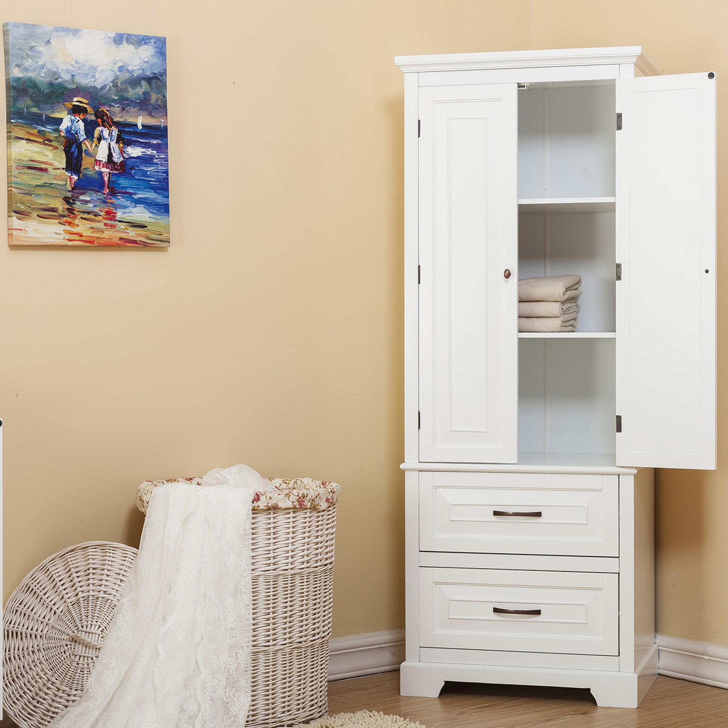 "Freestanding Kitchen Furniture Cabinet: Alcott Hill Prater 24"" X 62"" Free Standing Cabinet"
