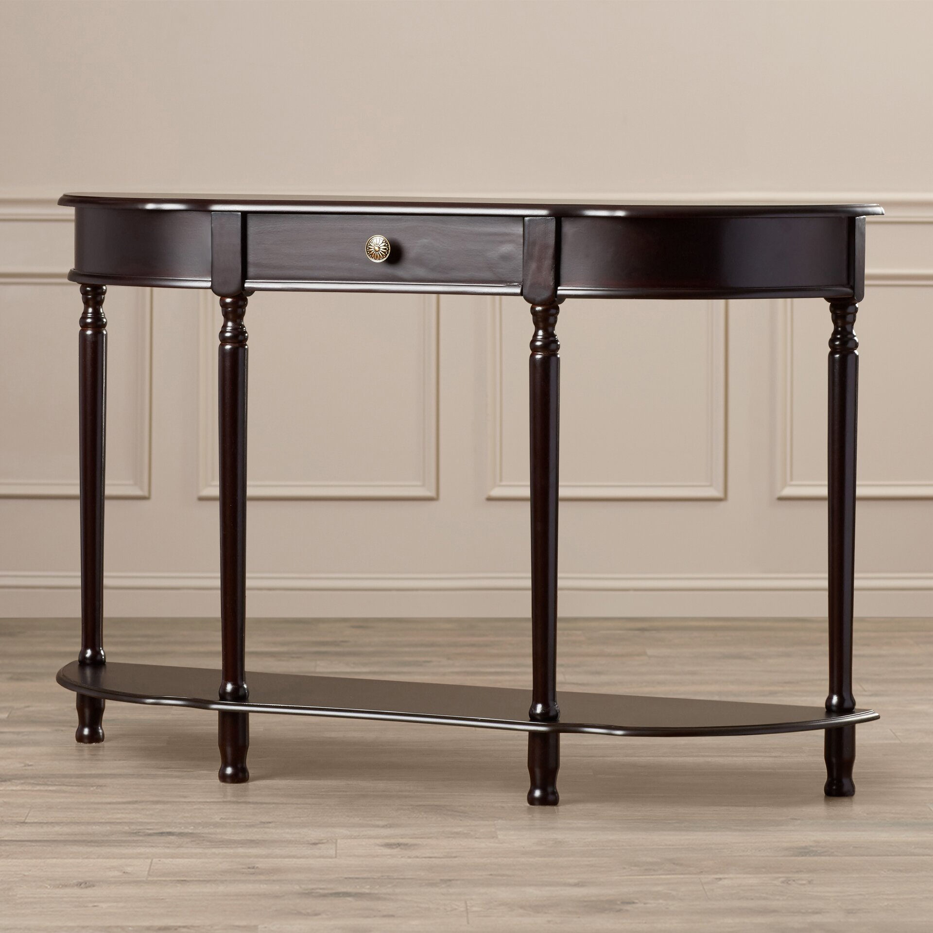 Alcott hill abbottsmoor console table with turned legs for Sofa table leg height