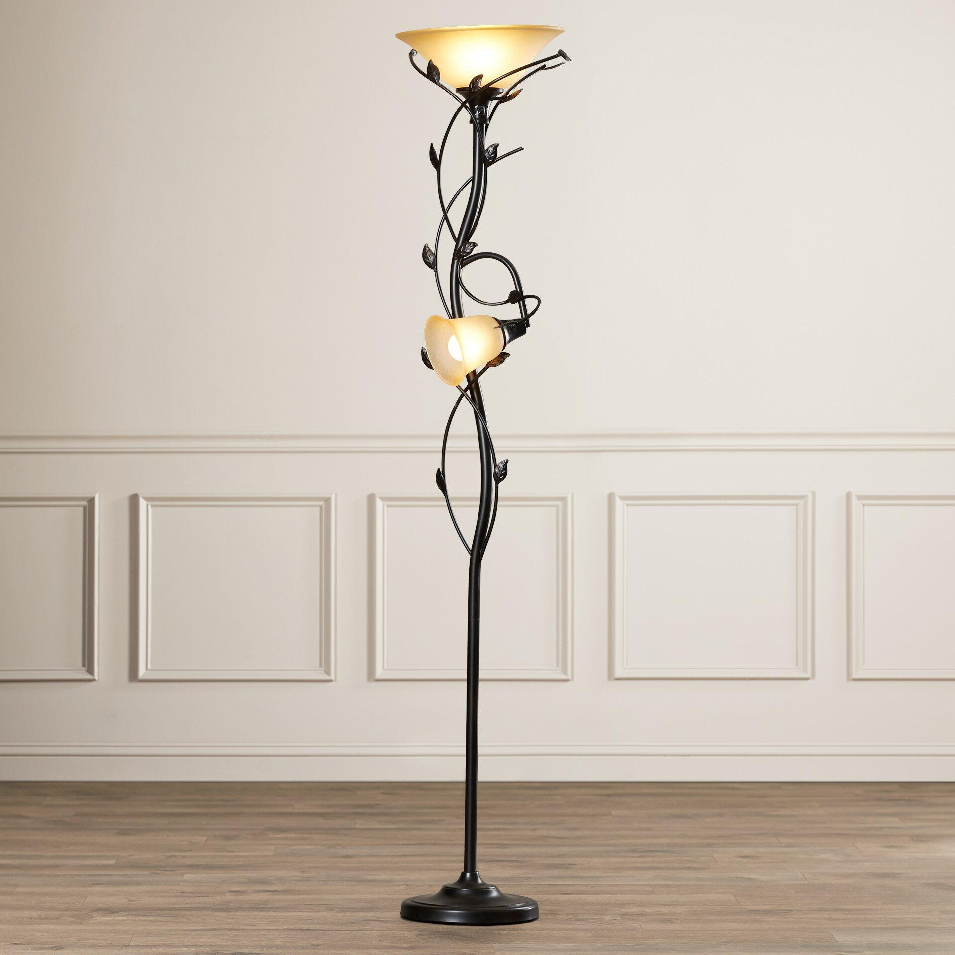 Alcott Hill Crystal 2 Light 72 Quot Torchiere Floor Lamp