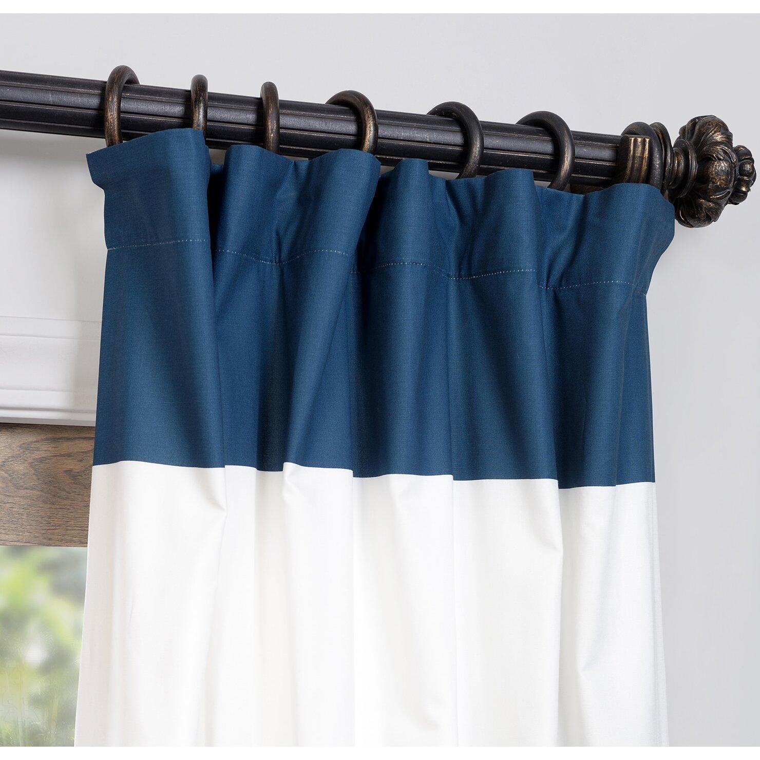 Alcott Hill Wilkesville Horizontal Stripe Cotton Single Curtain Panel ...