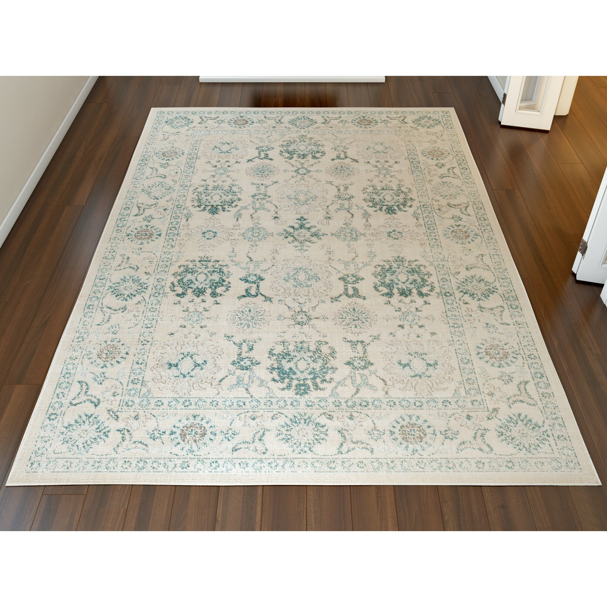 Teal Area Rug: Alcott Hill Canfield Teal/Beige Area Rug & Reviews