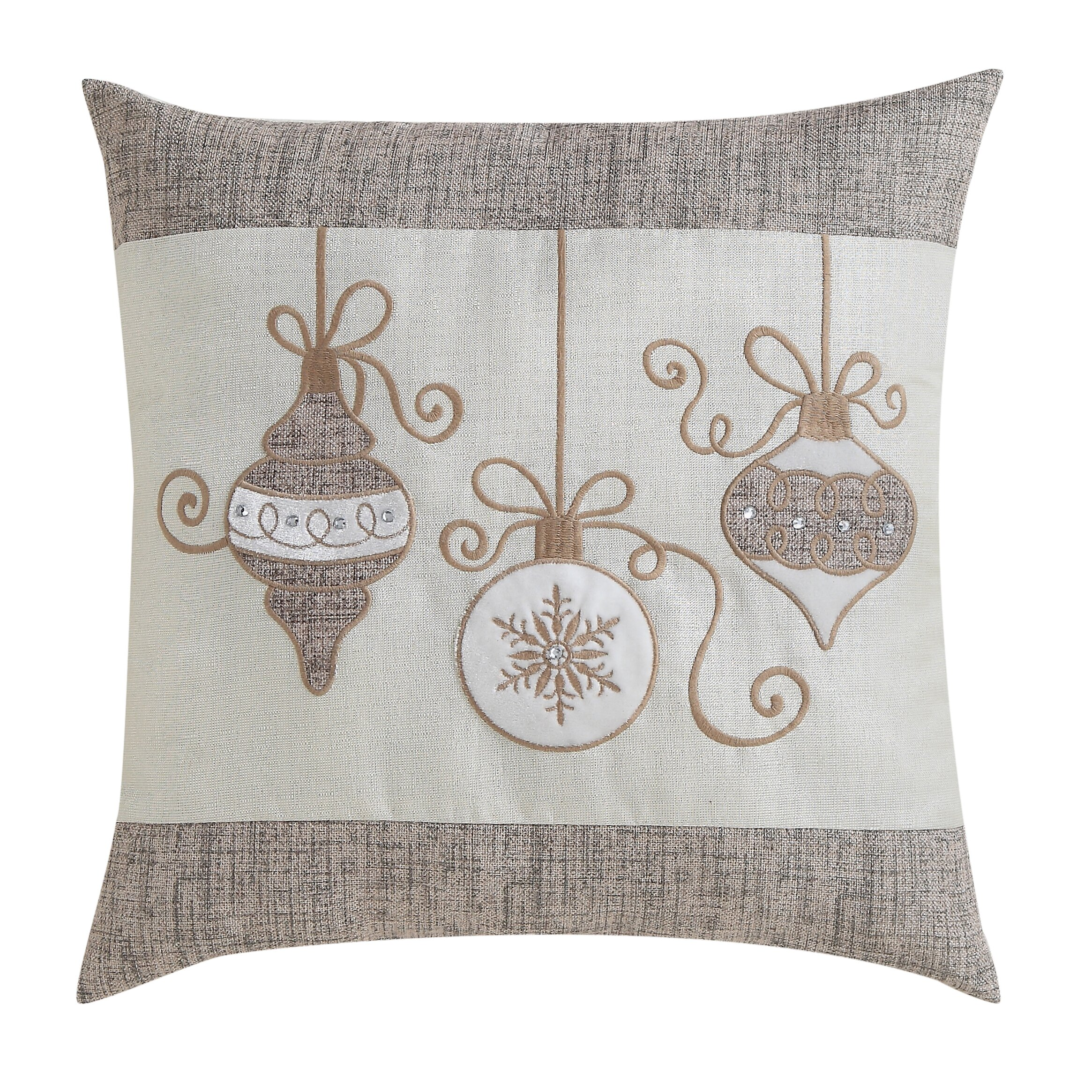 Decorative Christmas Pillows Throws : Alcott Hill Christmas Ornaments Embossed Decorative Holiday Throw Pillow & Reviews Wayfair