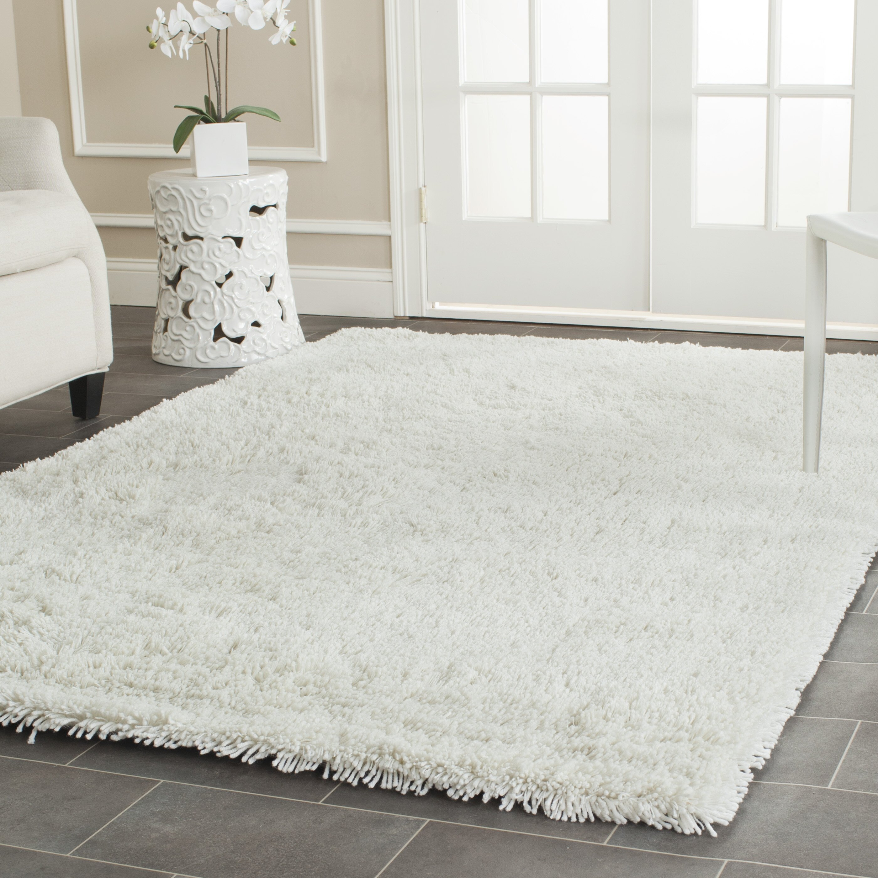 Charlton home pierce white shag area rug reviews wayfair for White area rug