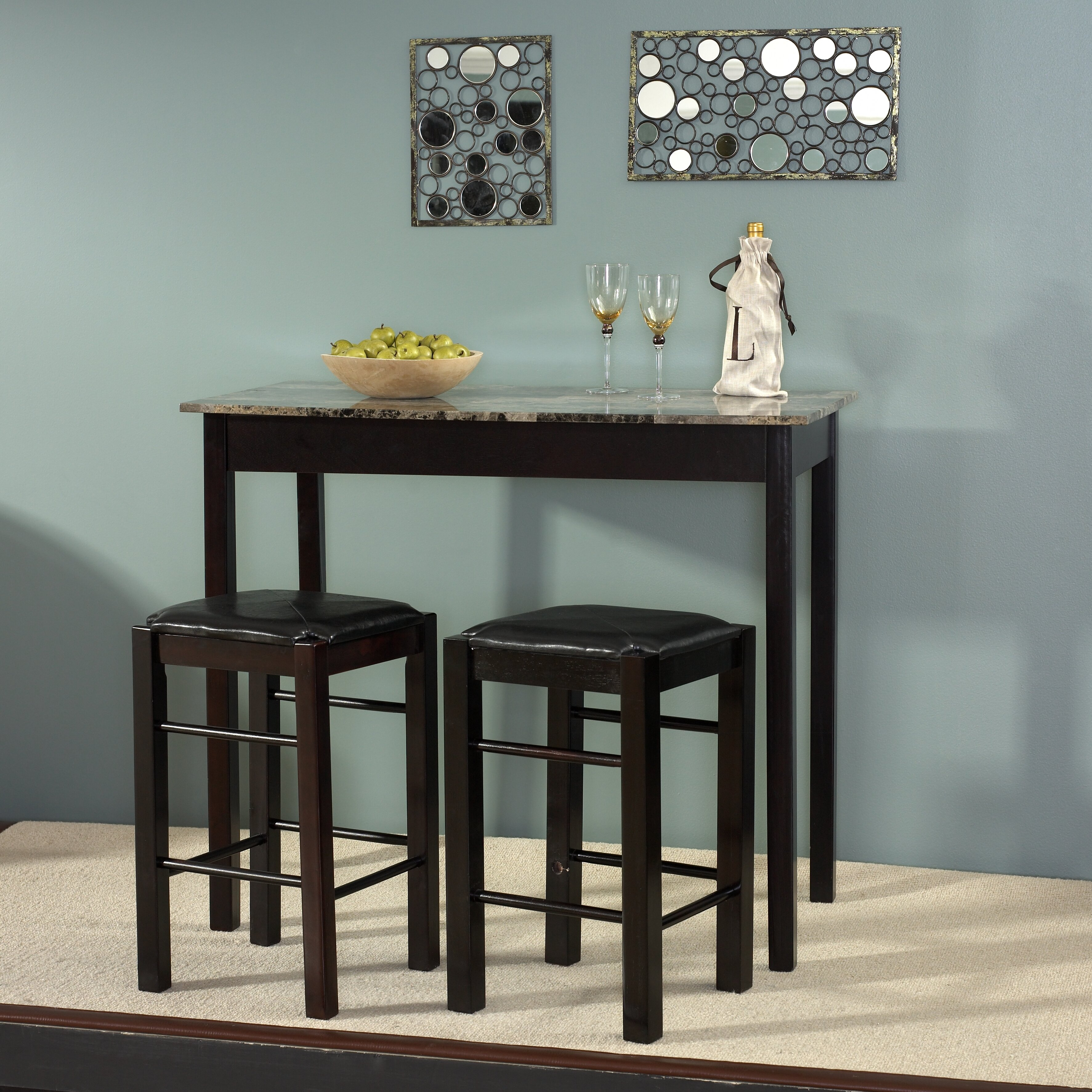 charlton home prosser 3 piece counter height dining set reviews wayfair. Black Bedroom Furniture Sets. Home Design Ideas