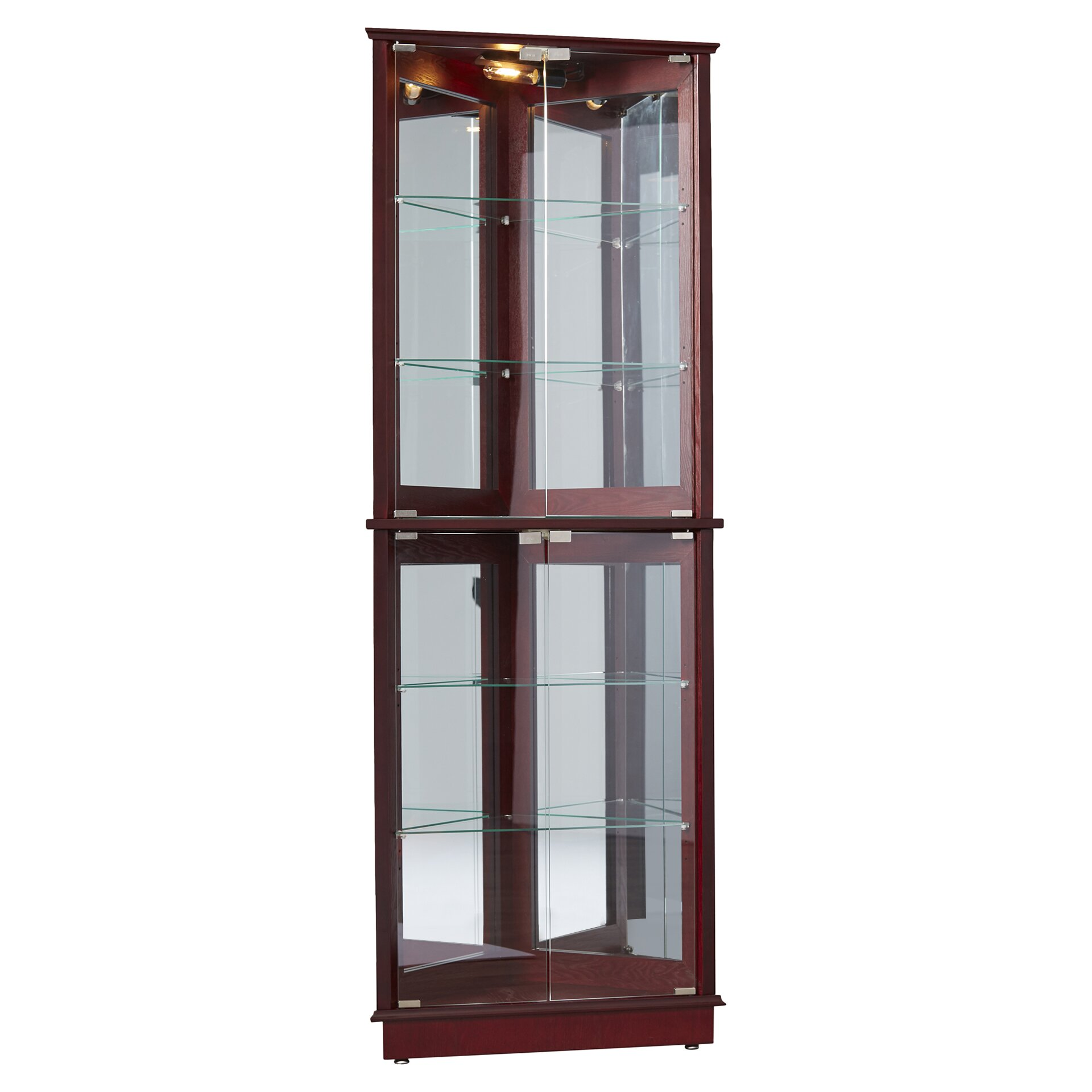 Charlton Home Lohmer Corner Curio Cabinet Reviews Wayfair