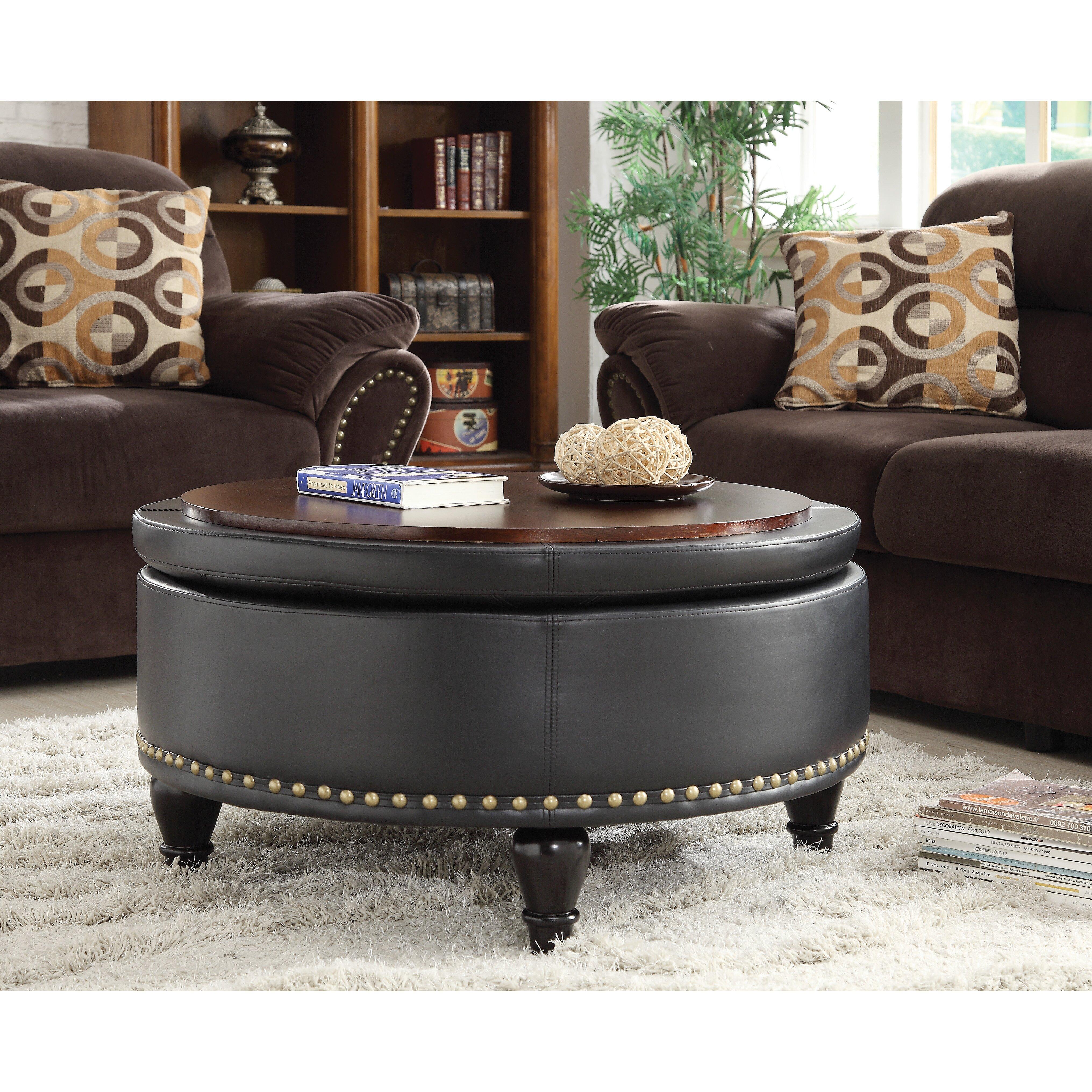 Charlton Home Evergreen Eco Leather Storage Ottoman