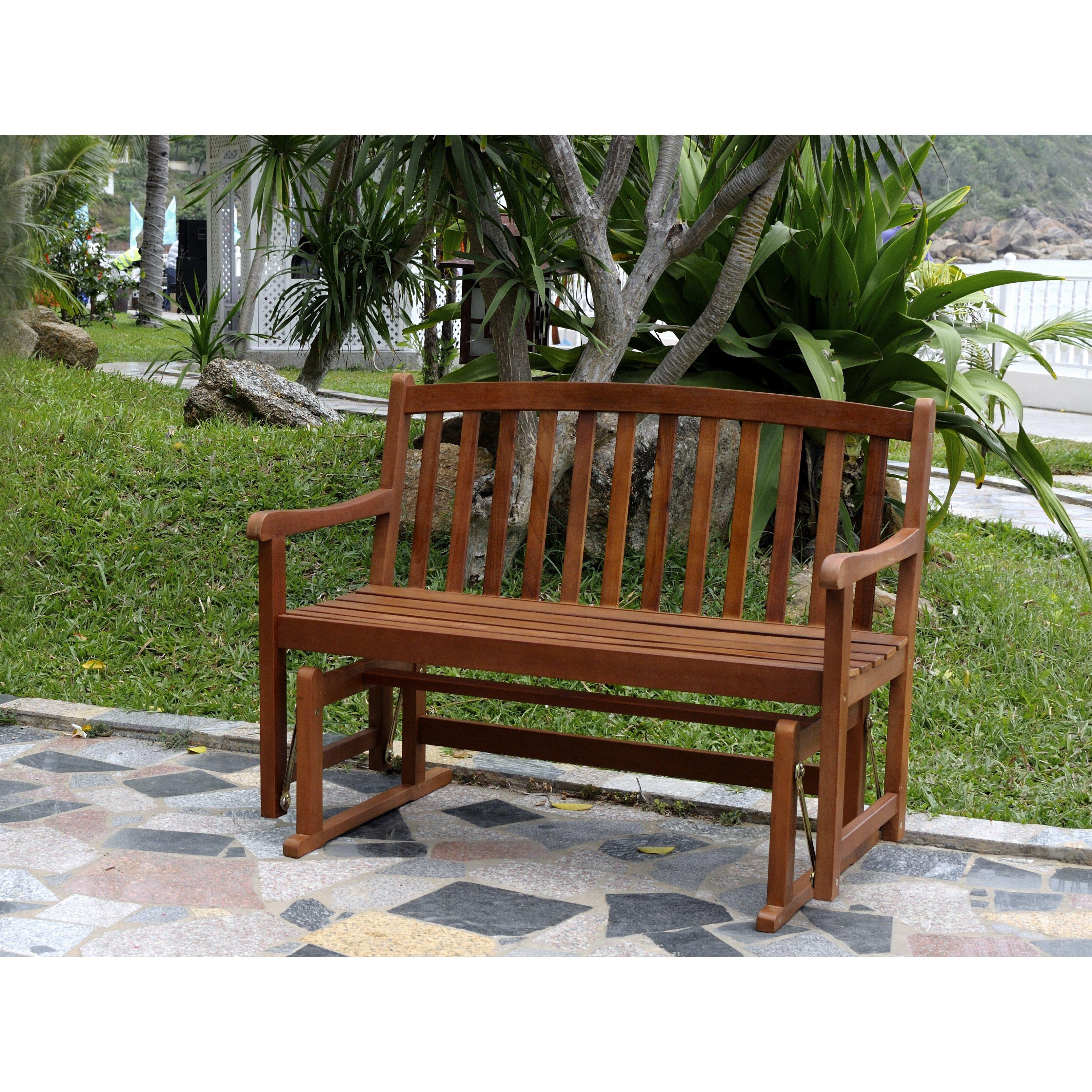 Charlton Home Worcester Glider Wood Garden Bench Reviews Wayfair