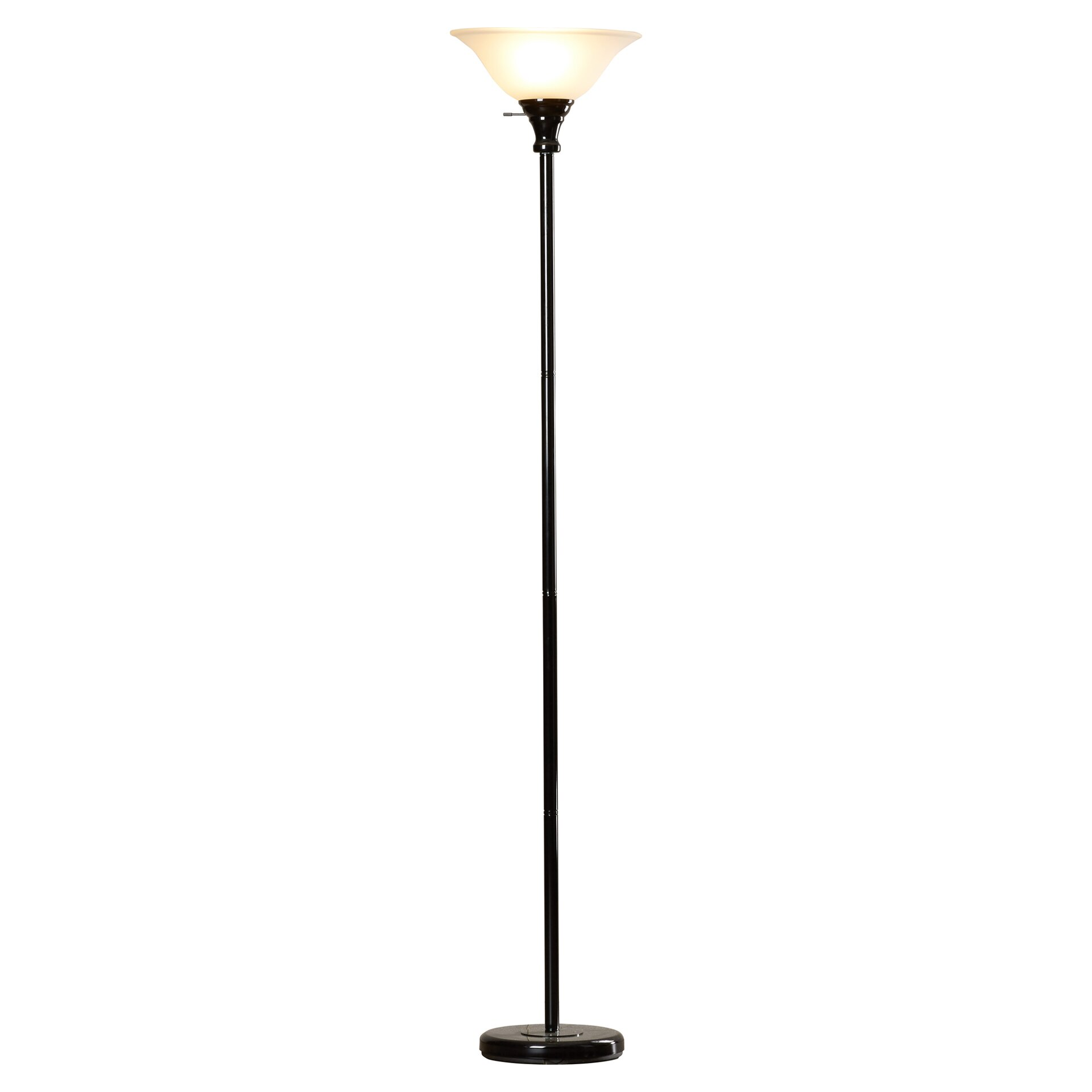70 metal torchiere floor lamp with glass shade reviews wayfair. Black Bedroom Furniture Sets. Home Design Ideas