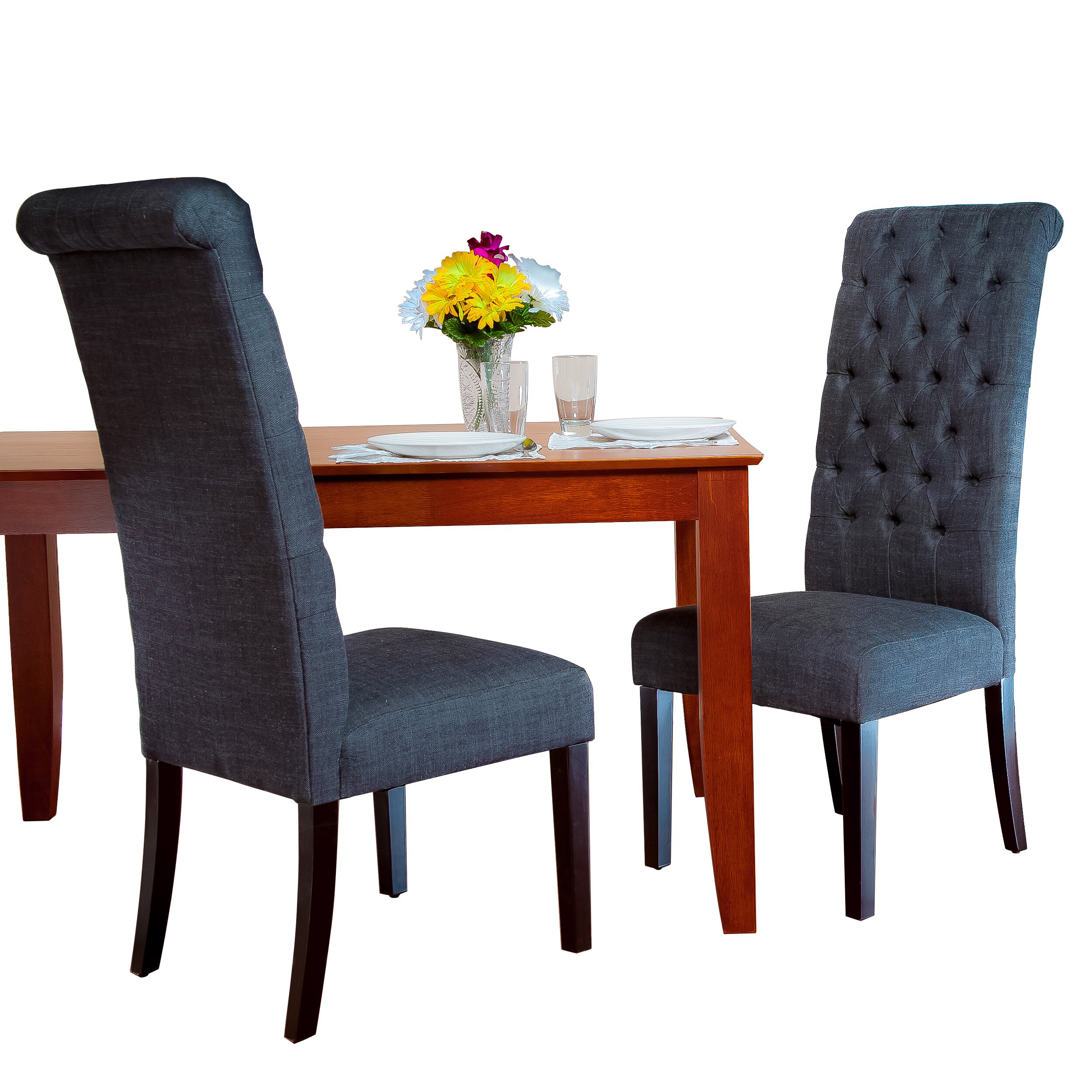 Charlton home estbury tall tufted upholstered dining chair for Tufted dining chairs for sale