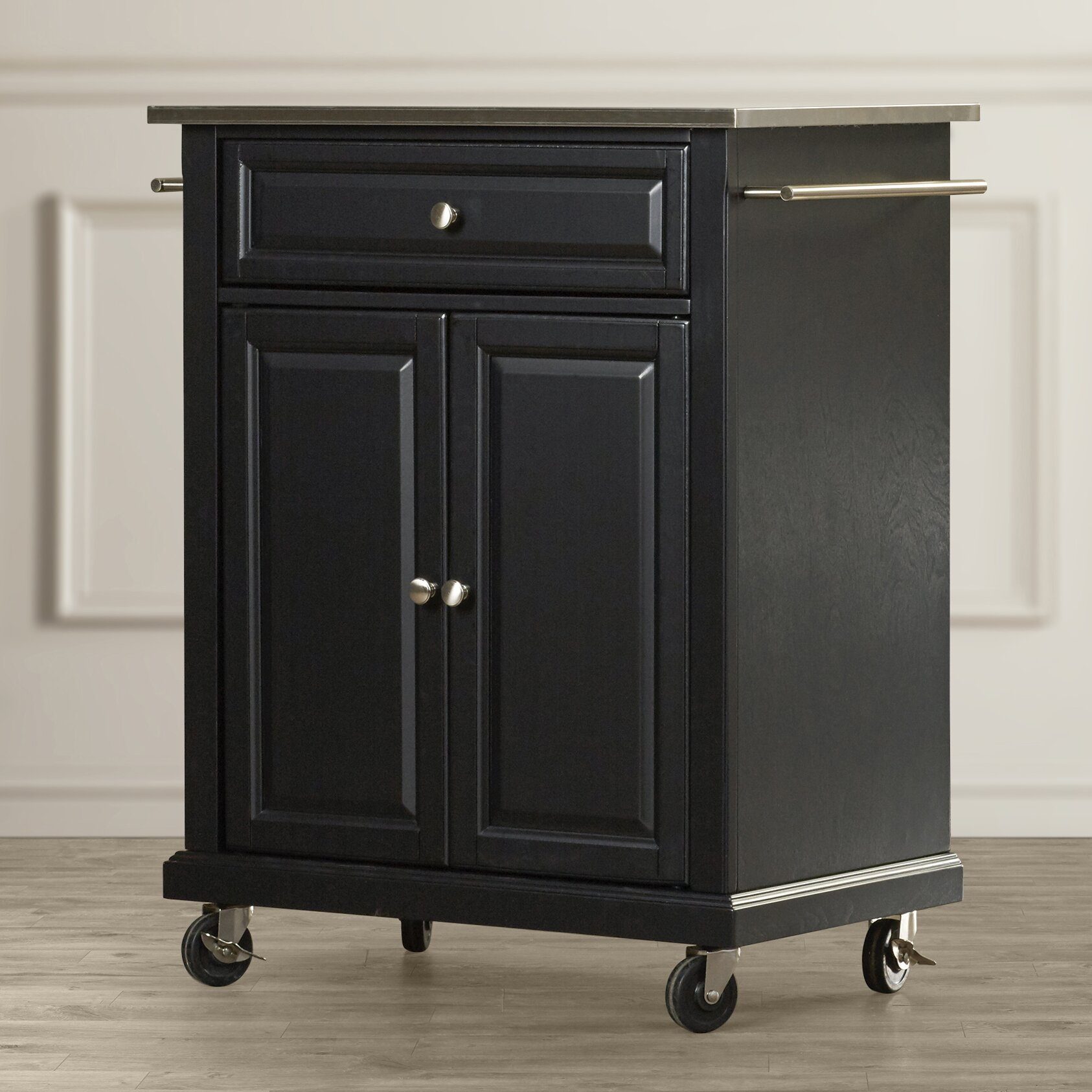 Charlton Home Bainbridge Kitchen Cart With Stainless Steel Top Reviews