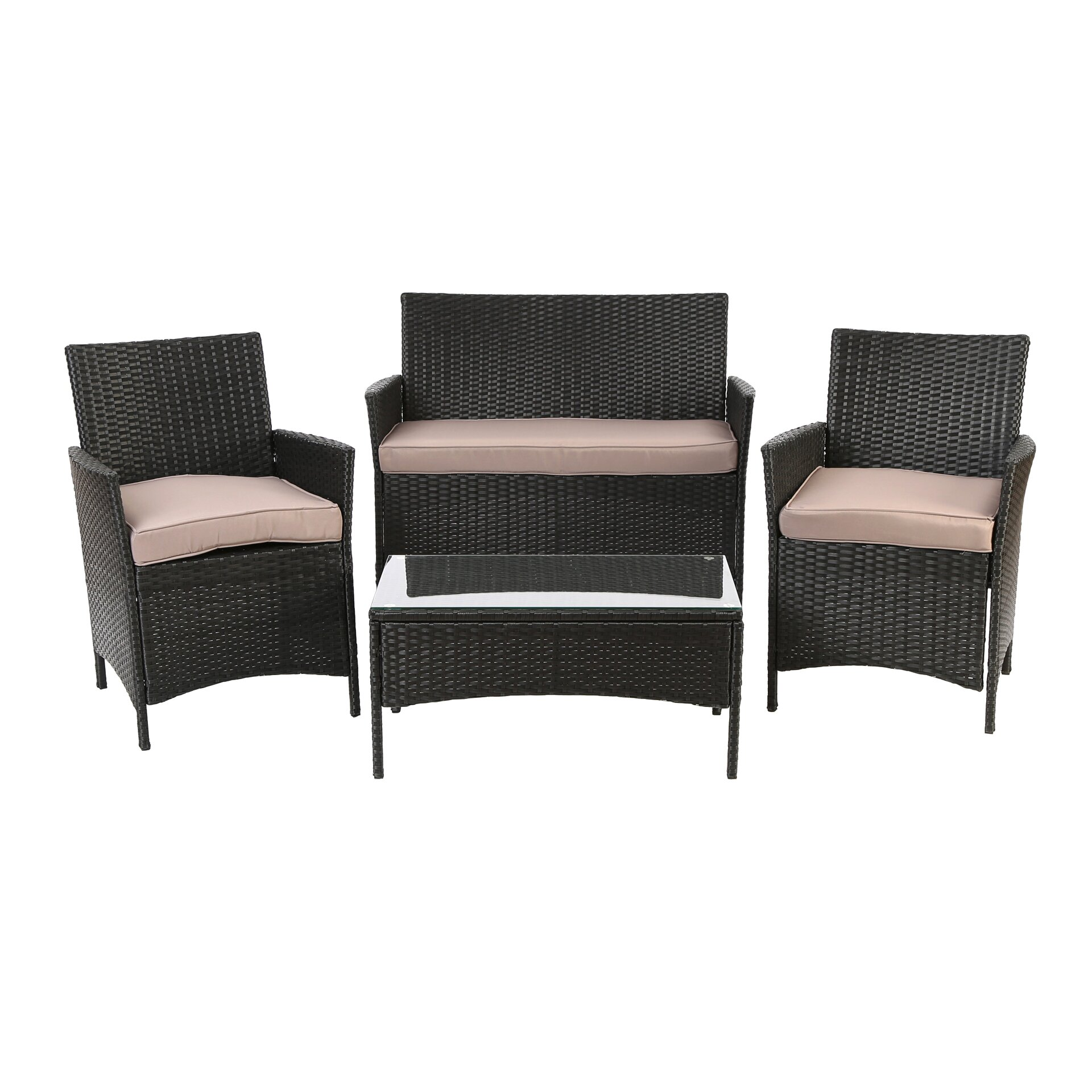 Charlton home bellevue 4 piece seating group with cushion for Home piece