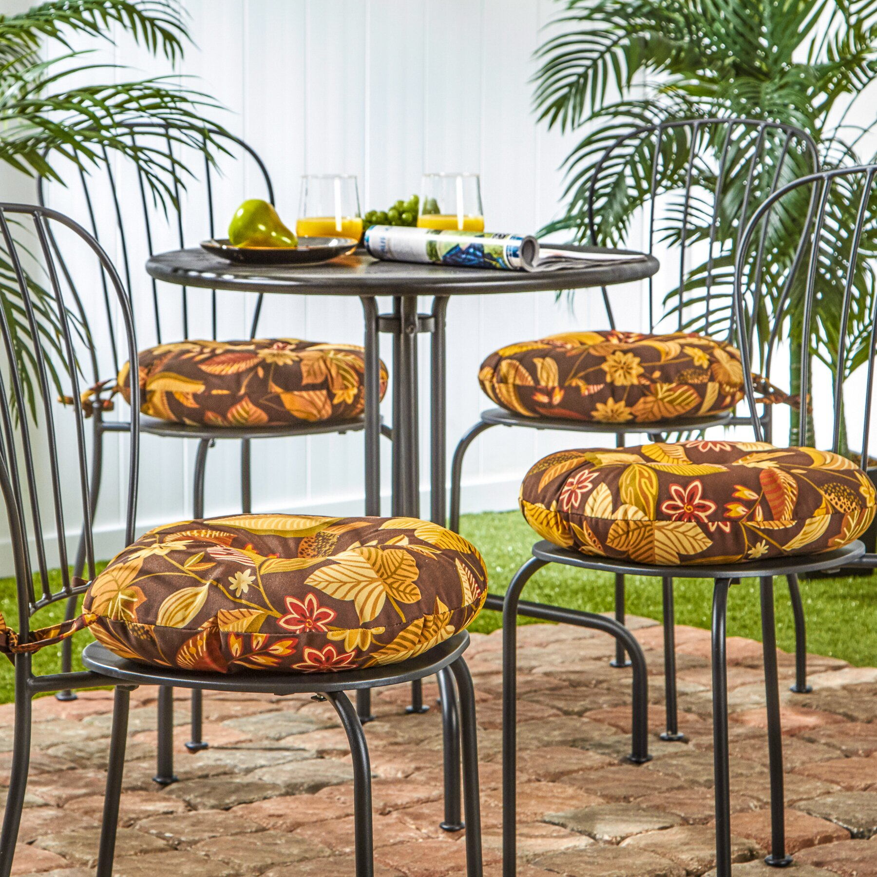 Charlton Home Outdoor Round Bistro Dining Chair Cushion Reviews Wayfair