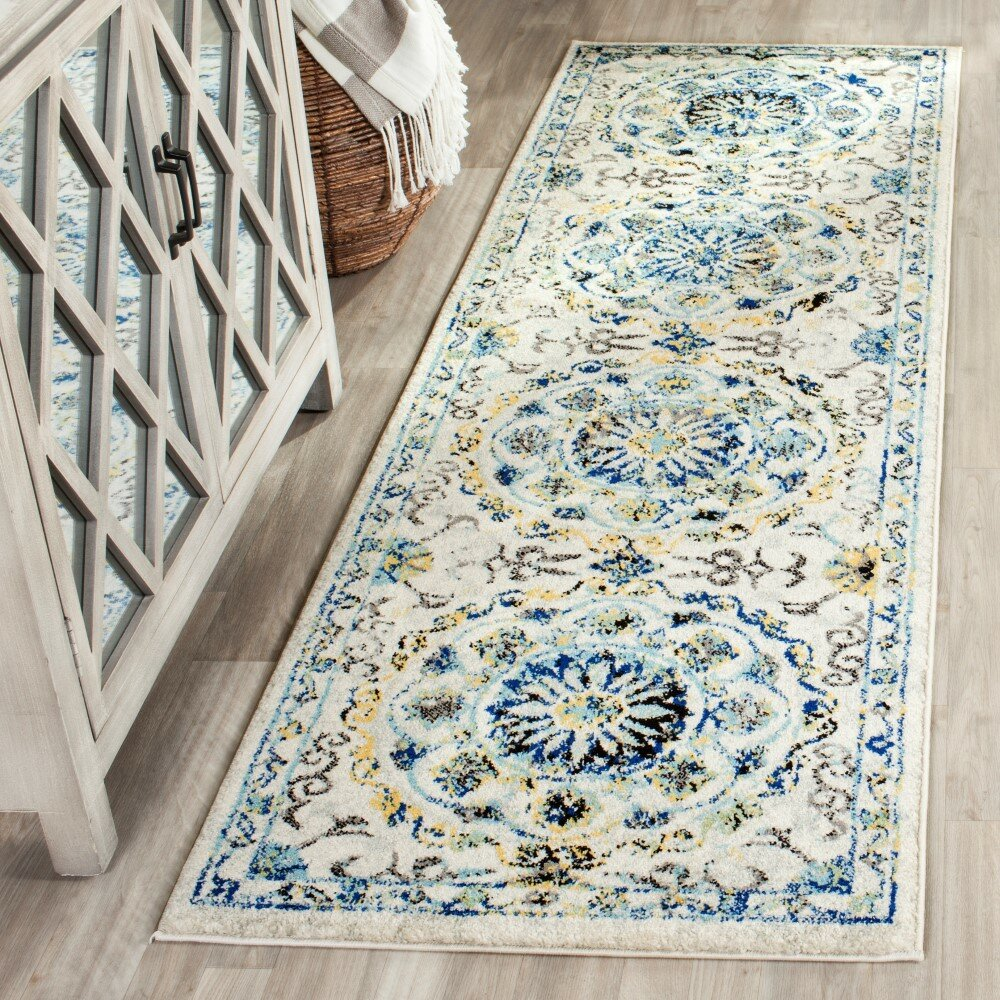 Charlton Home Pike Ivory Blue Area Rug Amp Reviews Wayfair